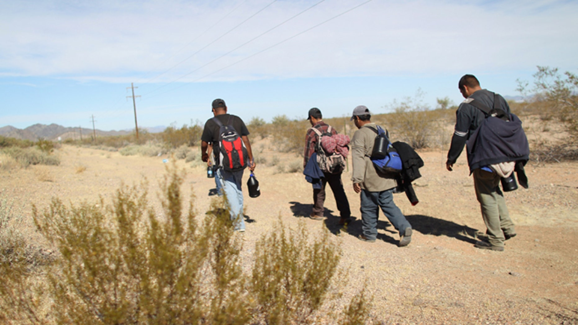 Undocumented Mexican immigrants walk through the Sonoran Desert after illegally crossing the U.S.-Mexico border border on January 19, 2011 into the Tohono O'odham Nation, Arizona. (Photo by John Moore/Getty Images)