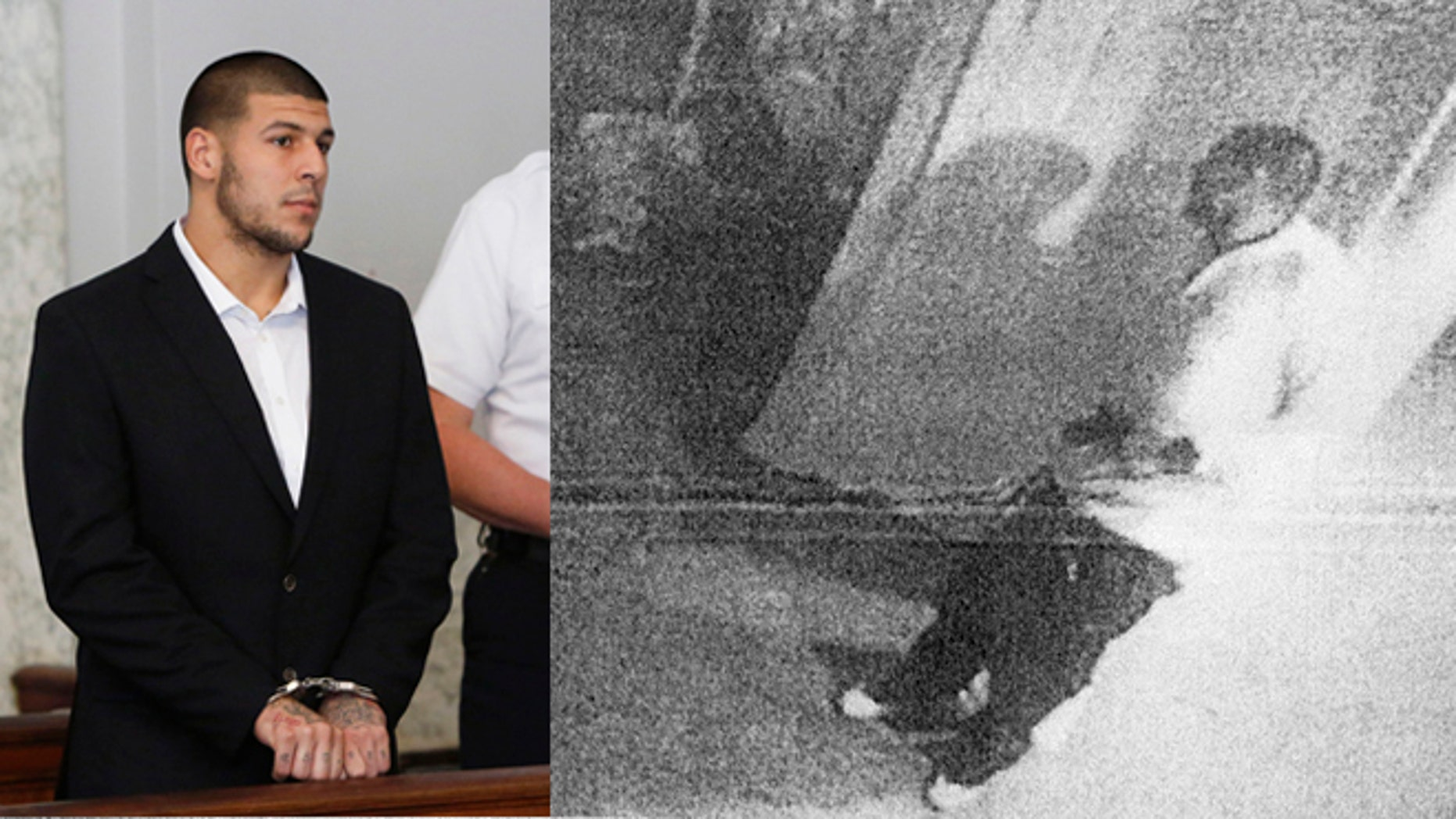 This black and white photo taken from former New England Patriot Aaron Hernandez's home surveillance system in North Attleborough, Mass., and released in documents by the Attleboro District Court Thursday, July 25, 2013, shows Hernandez holding what authorities said appears to be a gun, shortly after Odin Lloyd was shot to death on June 17.  Hernandez pleaded not guilty to murder in Lloyd's death. (AP Photo/Attleboro District Court)