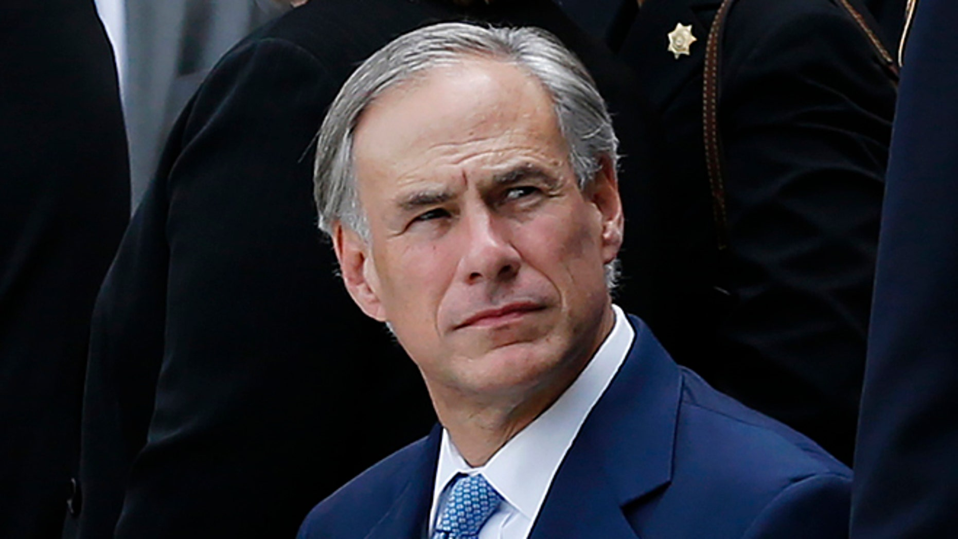 HOUSTON, TX - SEPTEMBER 4: Texas Gov. Greg Abbott attends the funeral for Harris County Sheriff Deputy Darren Goforth at Second Baptist Church on September 4, 2015 in Houston, Texas. Deputy Darren Goforth was fatally shot at a gas station last week. (Photo by Aaron M. Sprecher/Getty Images)