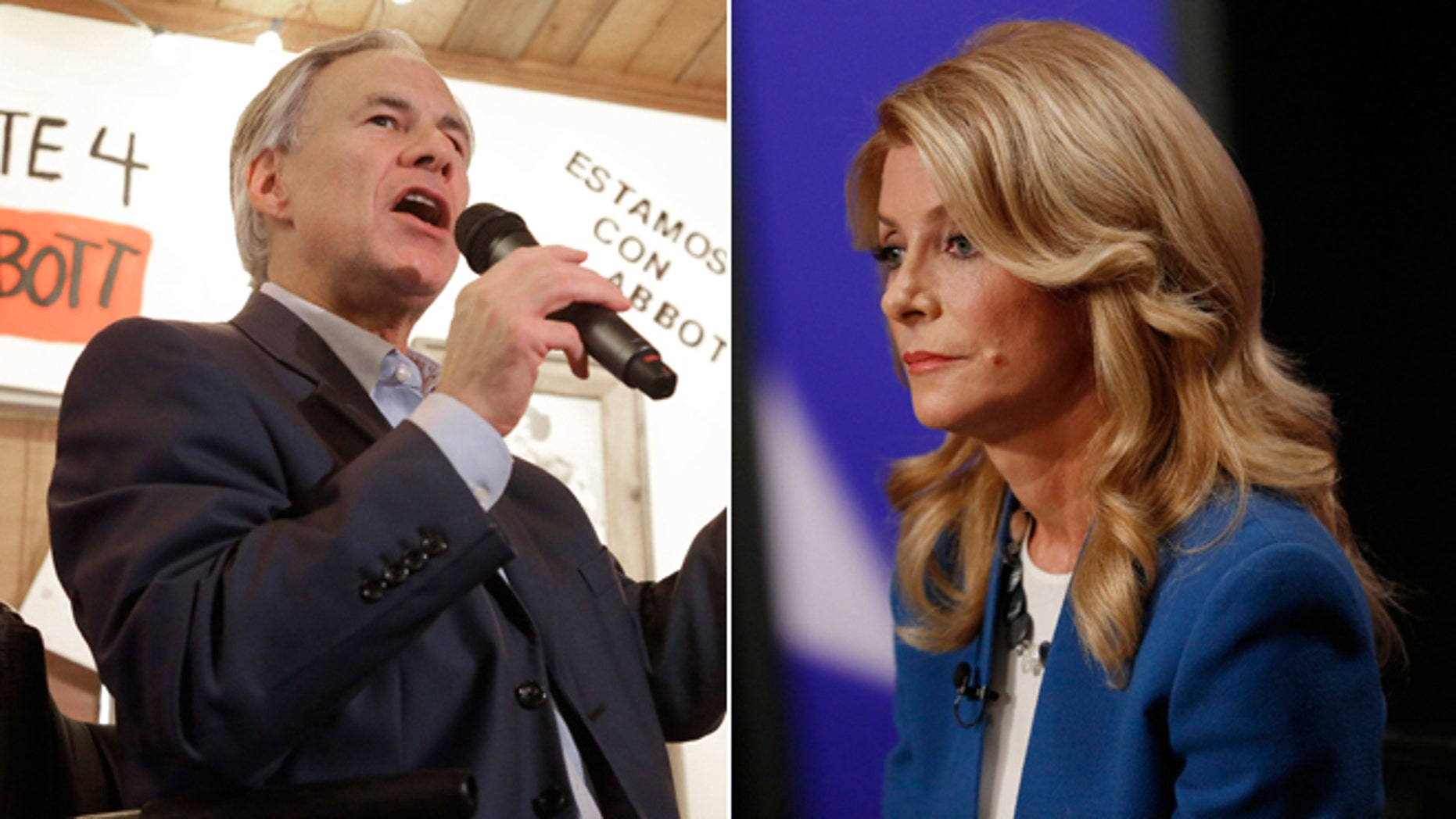 In this Tuesday, Oct. 14, 2014 photo, Texas Republican gubernatorial candidate Greg Abbott in Houston and Texas State Senator Wendy Davis, Democratic Gubernatorial candidate, in Dallas on Tuesday Sept. 30, 2014.