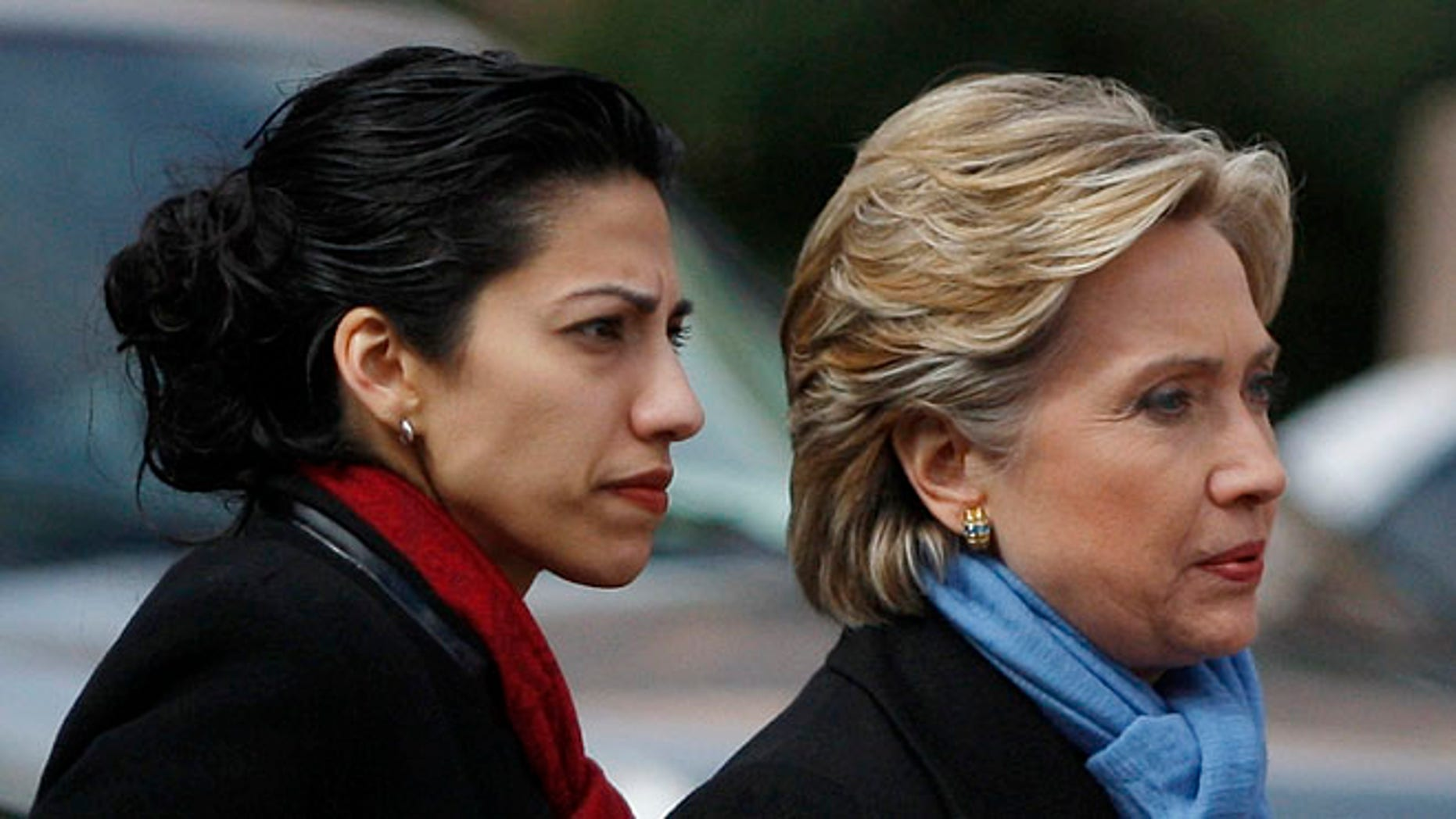 FILE: Feb. 22, 2008: Then-Sen. Hillary Clinton, D-N.Y., with chief of staff Huma Abedin in Fort Worth, Texas.