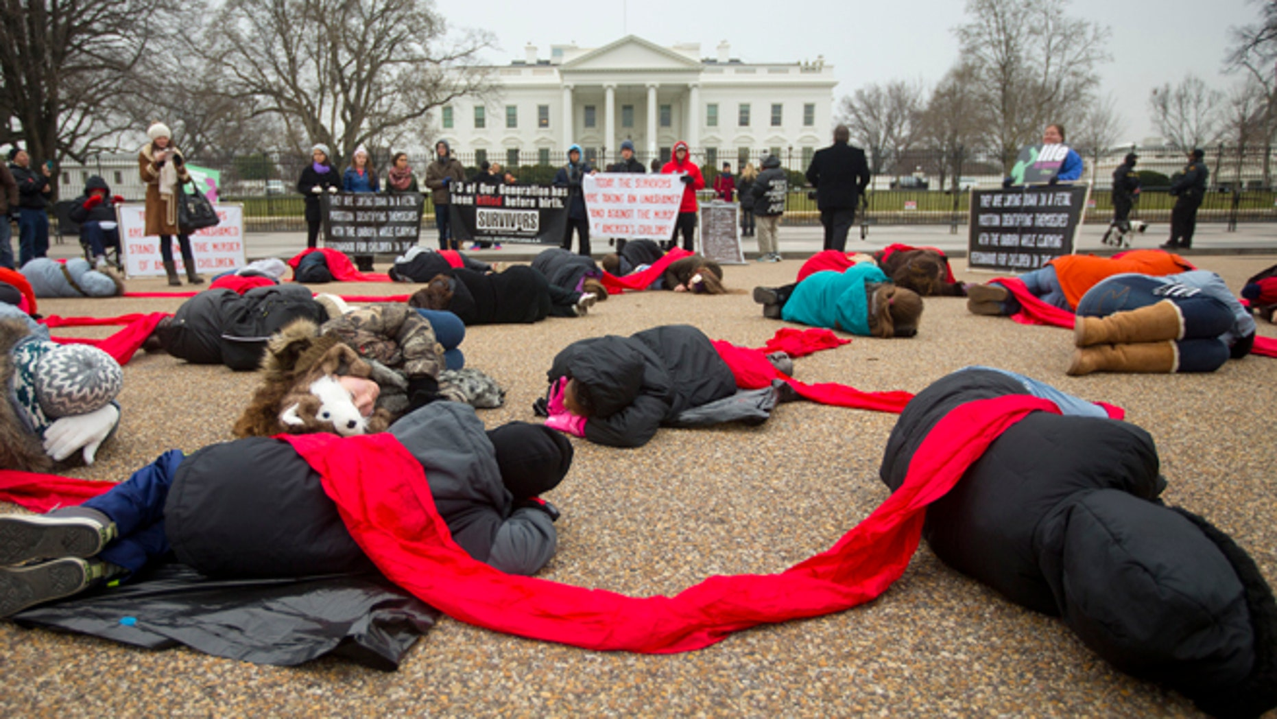 "This Wednesday, Jan. 21, 2015 photo shows anti-abortion activists stage a ""die-in"" in front of the White House in Washington."