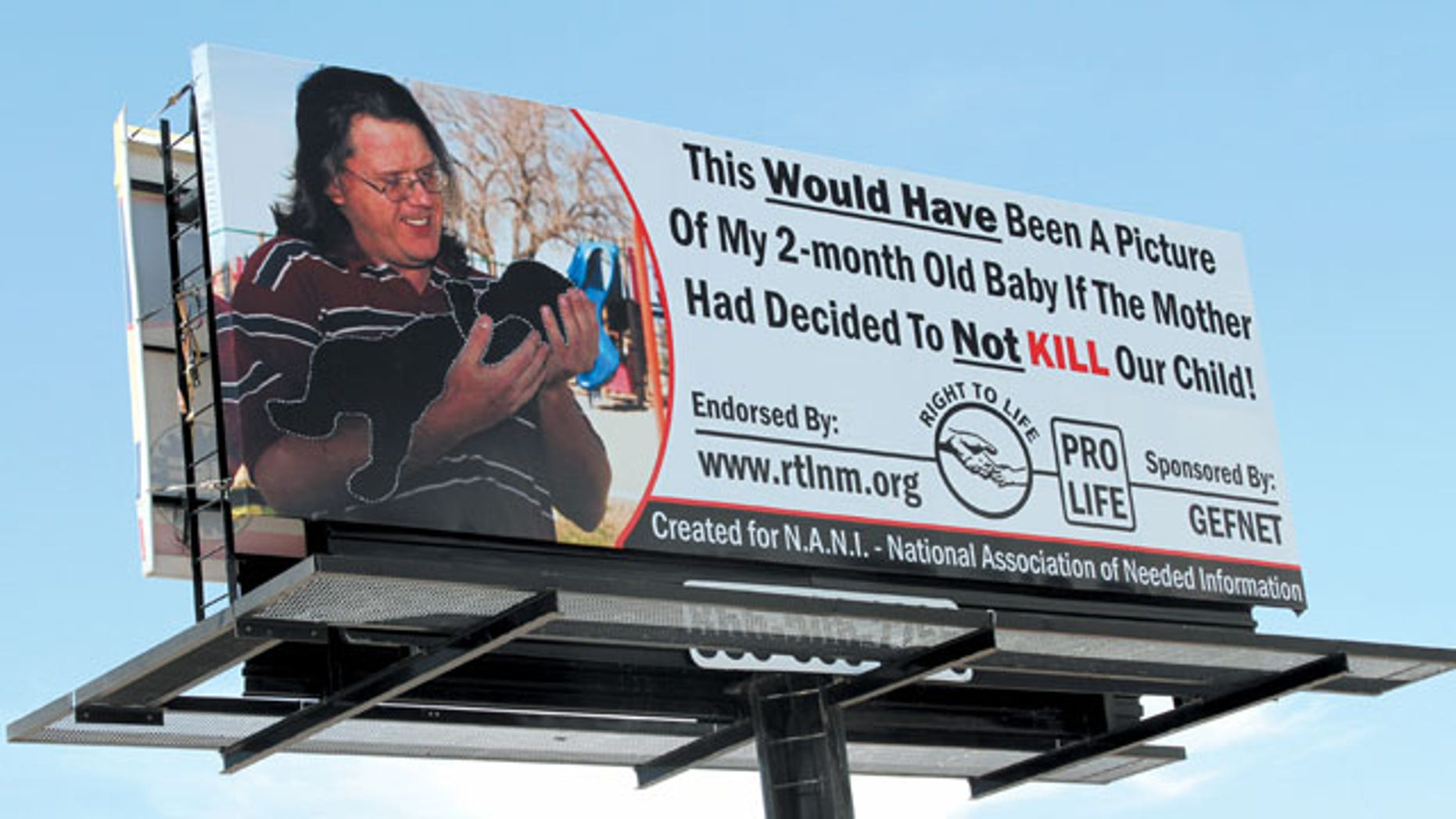 FILE: A New Mexico man was ordered by a judge to take down a billboard that implies his ex-girlfriend had an abortion.
