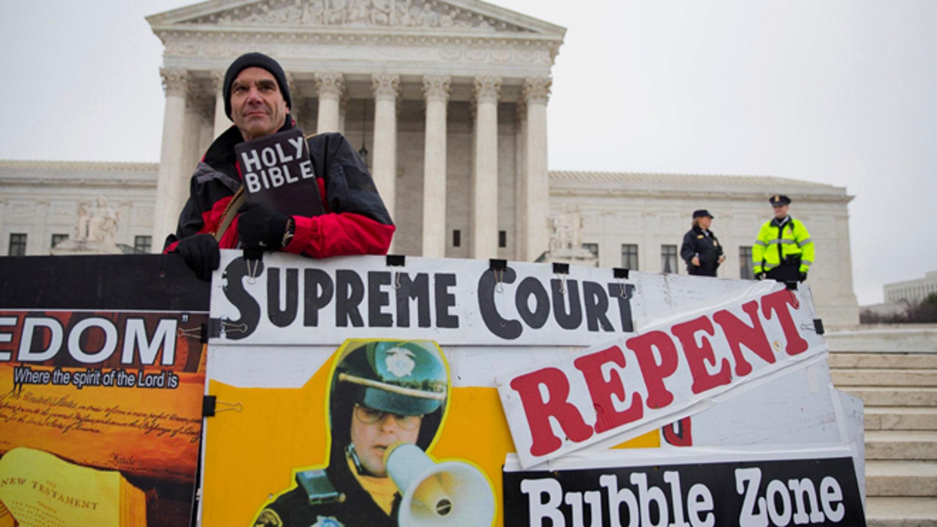 FILE: Jan. 15, 2014: Alan Hoyle, of Lincolnton, N.C., outside the Supreme Court in Washington, D.C.