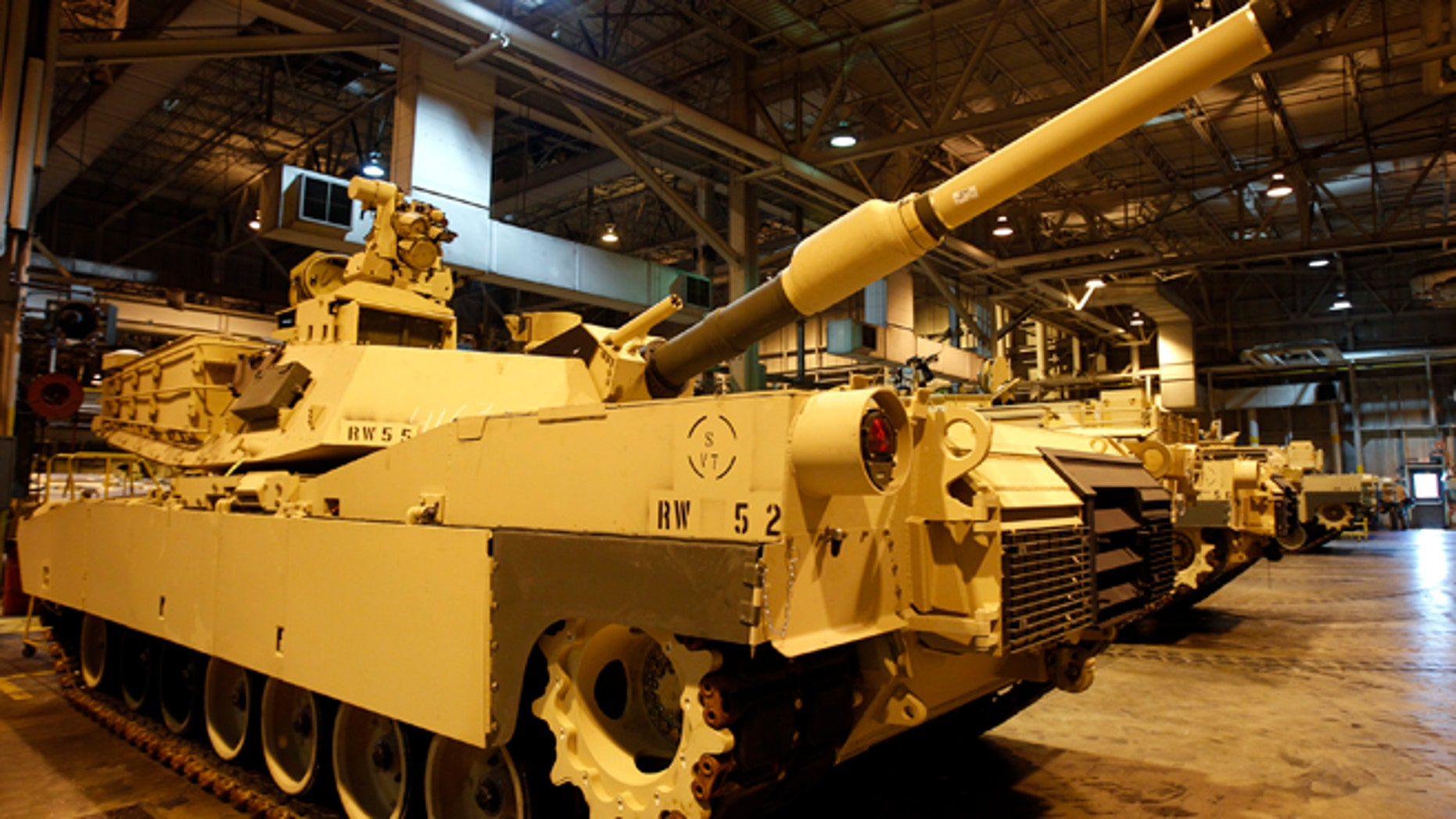 FILE: April 23, 2012: An Abrams battle tank during a tour of the Joint Systems Manufacturing Center, Lima Army Tank Plant, in Lima, Ohio.