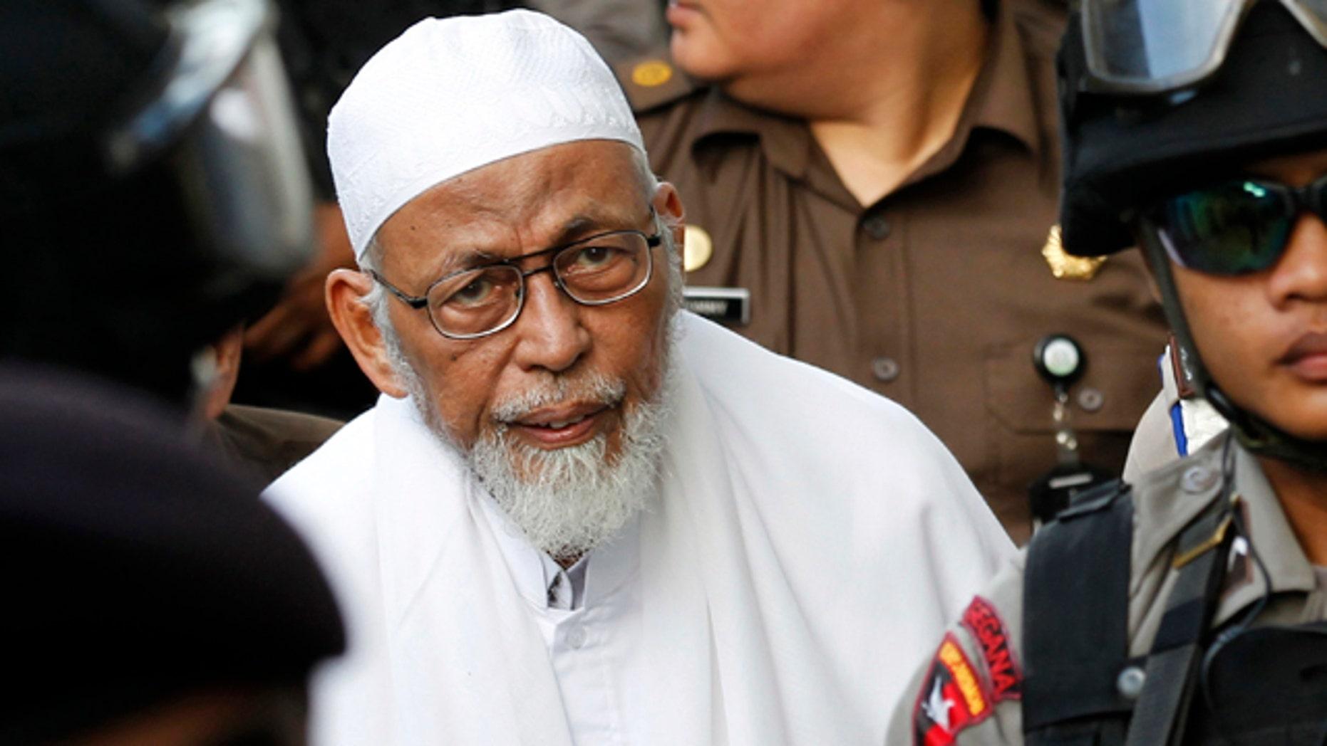 March 14, 2011: Radical Indonesian Muslim cleric Abu Bakar Bashir arrives at south Jakarta's court compound.