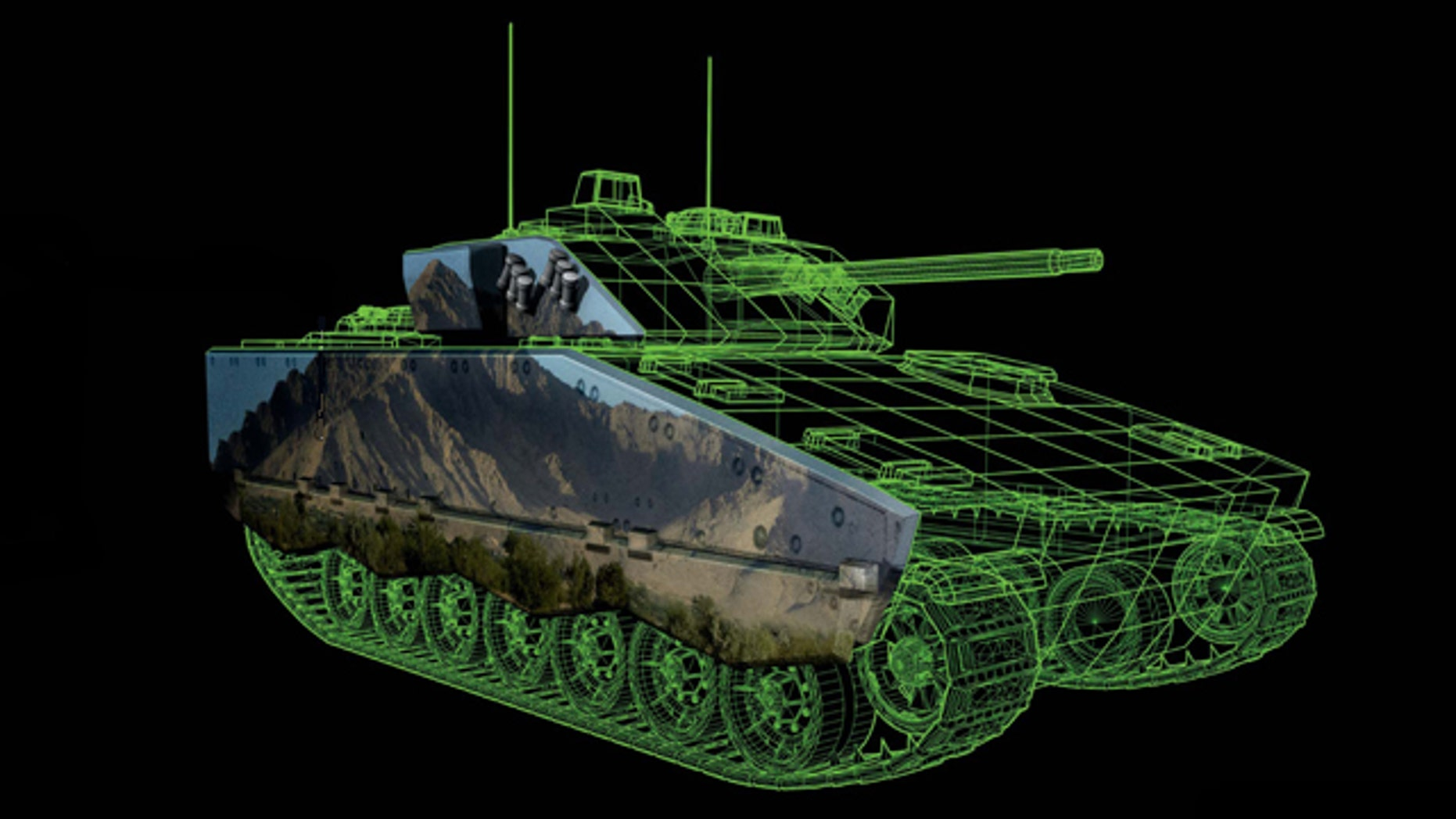 """In BAE Systems """"eCamouflage"""" concept, images are projected on the hull of a combat vehicle that change in concert with the environment -- making the vehicle invisible."""