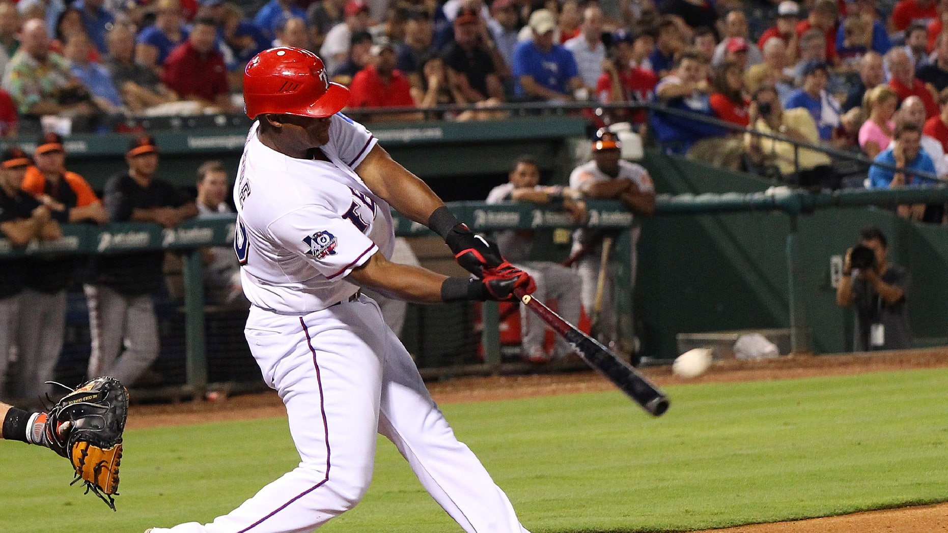 ARLINGTON, TX - AUGUST 21: Adrian Beltre #29 of the Texas Rangers hit a double in the sixth inning against the Baltimore Orioles at Rangers Ballpark in Arlington on August 21, 2012 in Arlington, Texas. (Photo by Rick Yeatts/Getty Images)