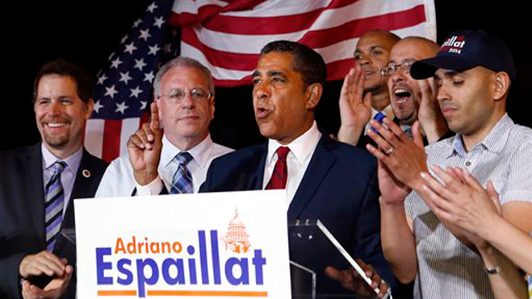 Espaillat declaring his race with Rangel too close to call in the Democratic primary for NY's 13th Congressional District, June 24, 2014.