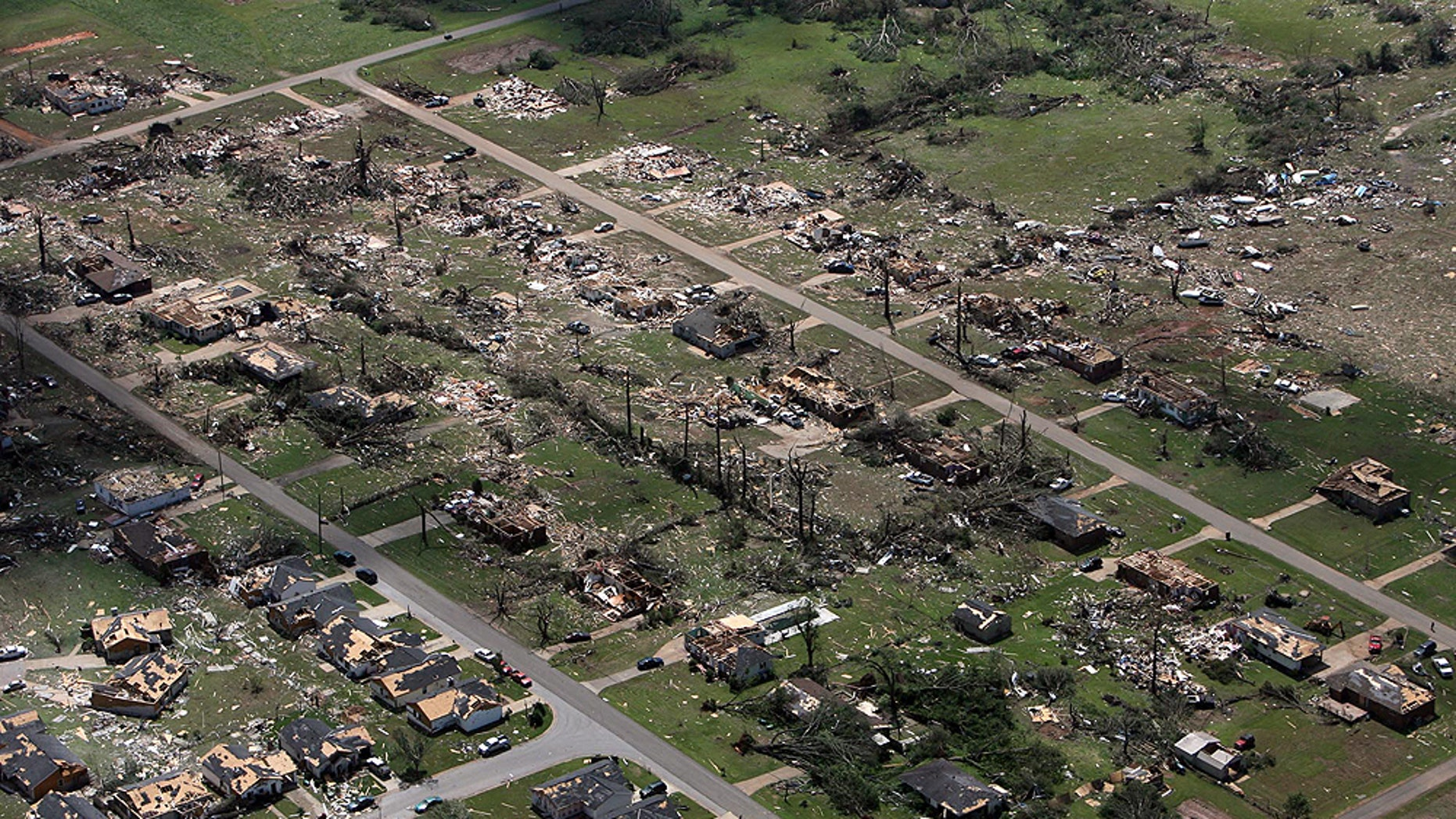 April 28: This aerial photo shows the devastation of  homes in Cottondale, Ala. sustained heavy damage.