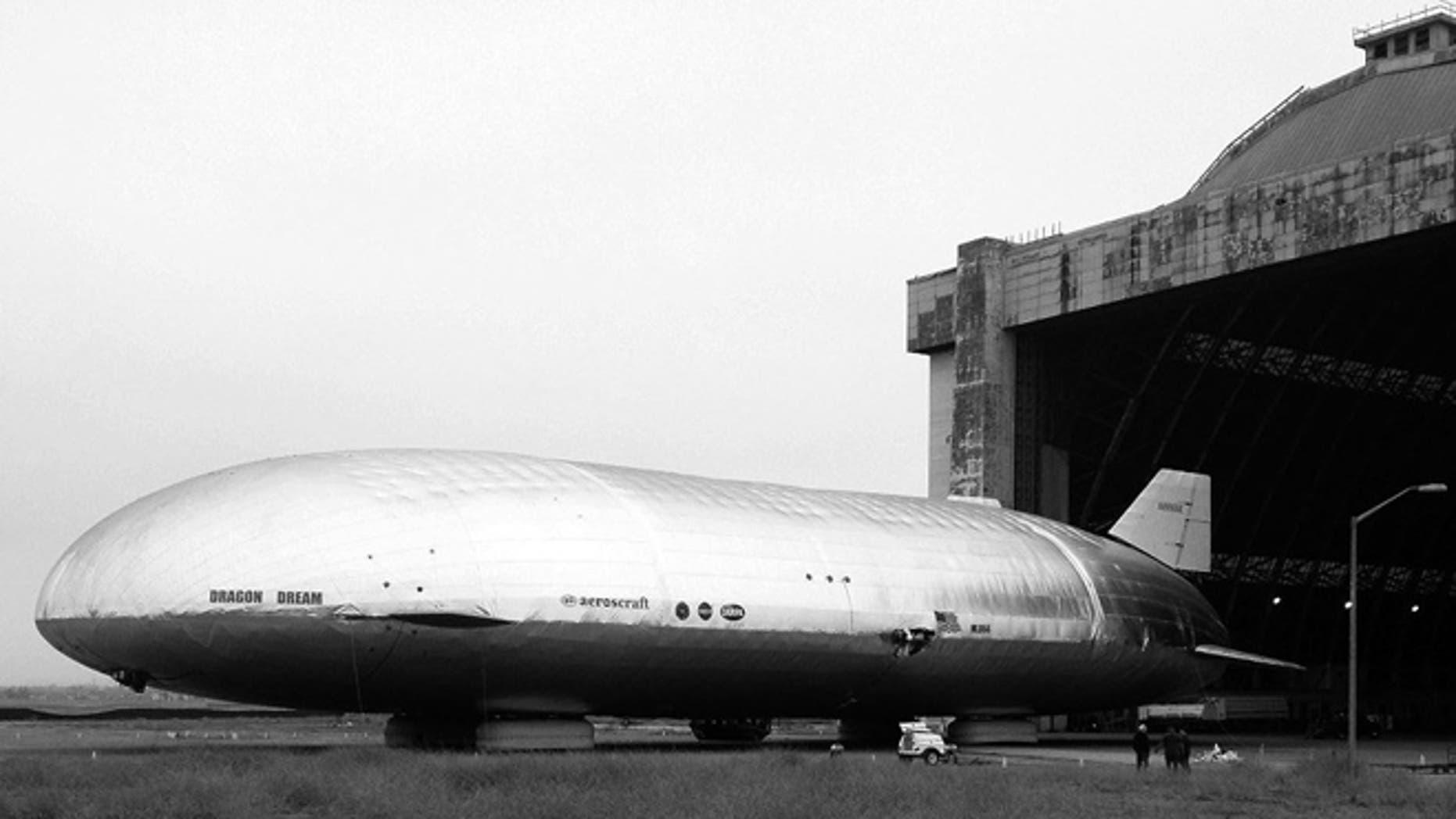 The Aeroscraft at its storage hangar at a Navy-operated facility in Southern California.