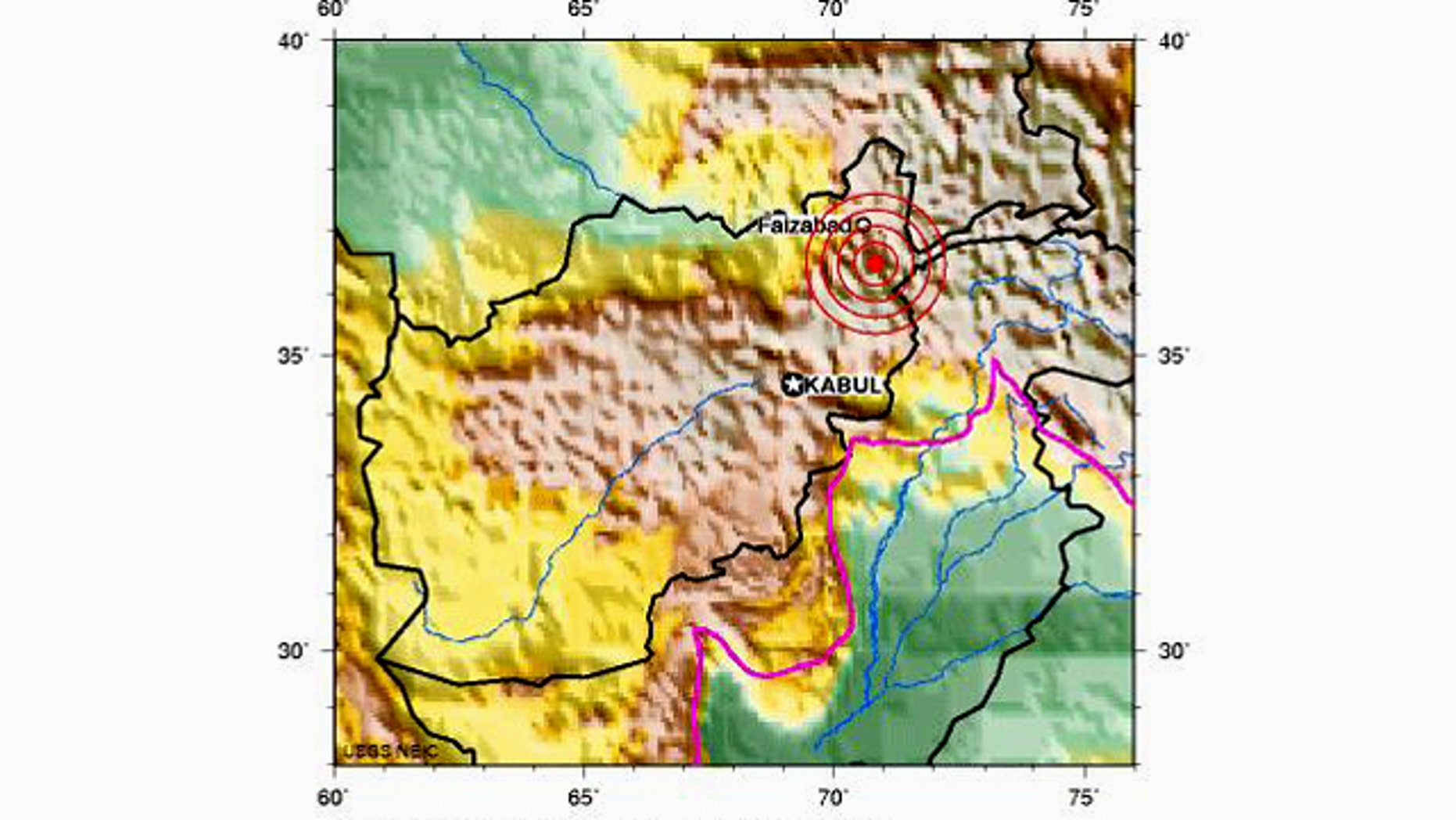 The preliminary earthquake report from the U.S. Geological Survey's National Earthquake Information Center shows the epicenter of the quake, just north of Faizabad in Afghanistan.