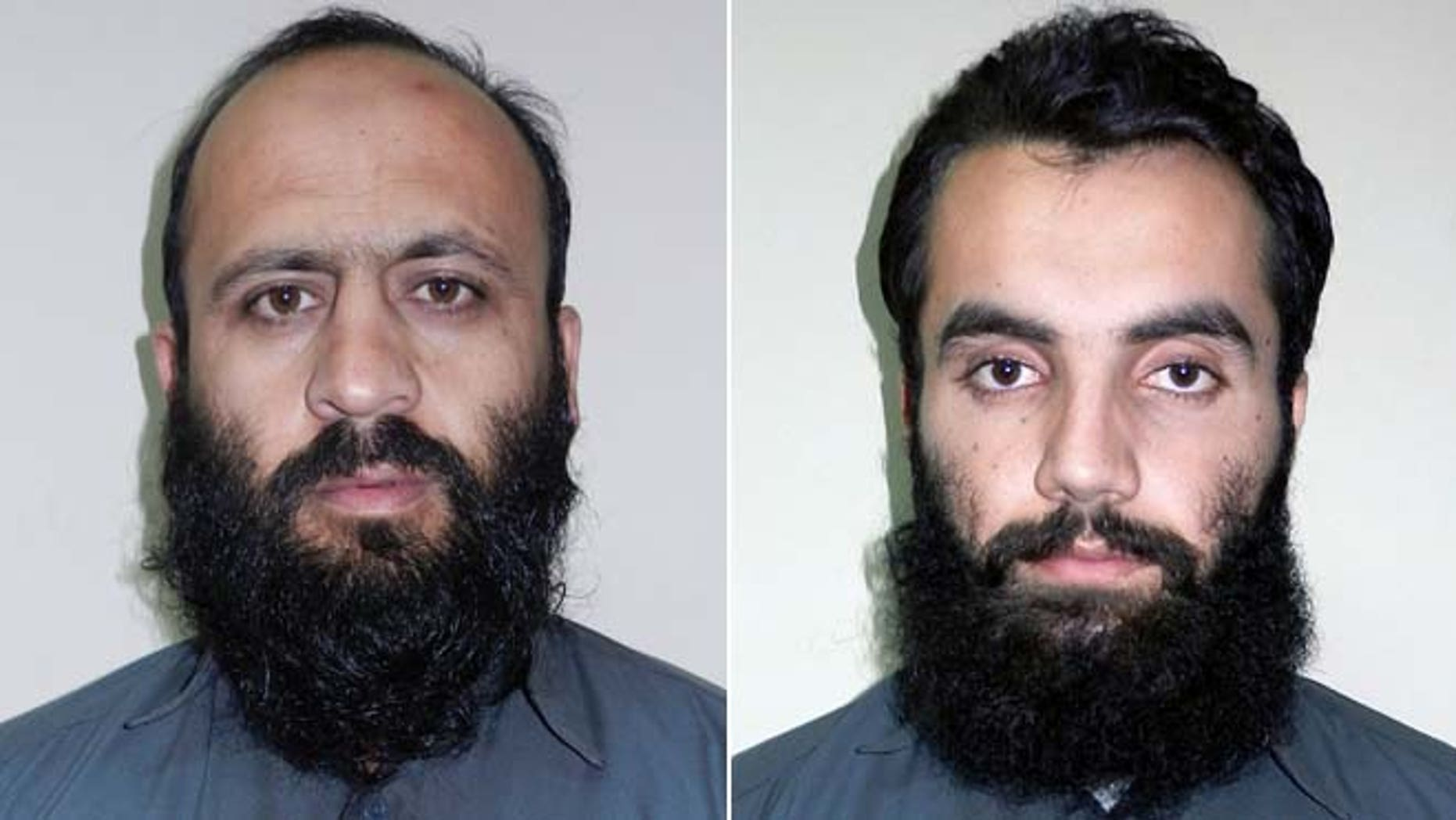 In these Oct. 15, 2014 photos provided by Afghanistan's National Directorate of Security (NDS), Hafiz Rashid, left, and Anis Haqqani, both senior leaders of the Al Qaeda-linked Haqqani network, pose for pictures in Kabul, Afghanistan.