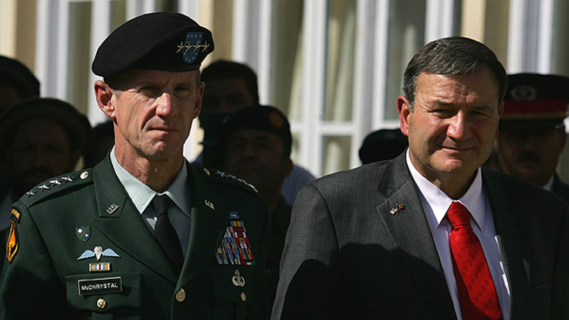 Oct. 14: General Stanley McChrystal and U.S. Ambassador Karl Eikenberry look on during a memorial service to honor members of the Afghan National Security Forces who lost their lives. (AP)