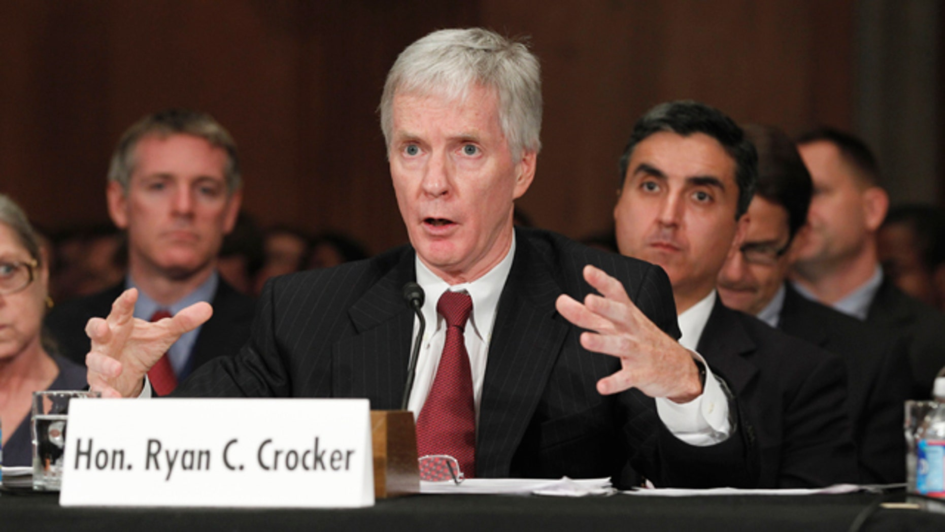 June 8: Ryan Crocker, President Barack Obama's choice to become ambassador to Afghanistan, testifies on Capitol Hill in Washington before the Senate Foreign Relations Committee hearing on his nomination.