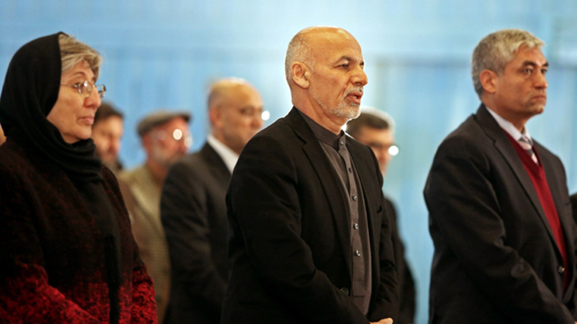 Dec. 14, 2014: Afghanistan President Ashraf Ghani, center, attends a conference marking Human Rights Day in Kabul. (AP Photo/Rahmat Gul)