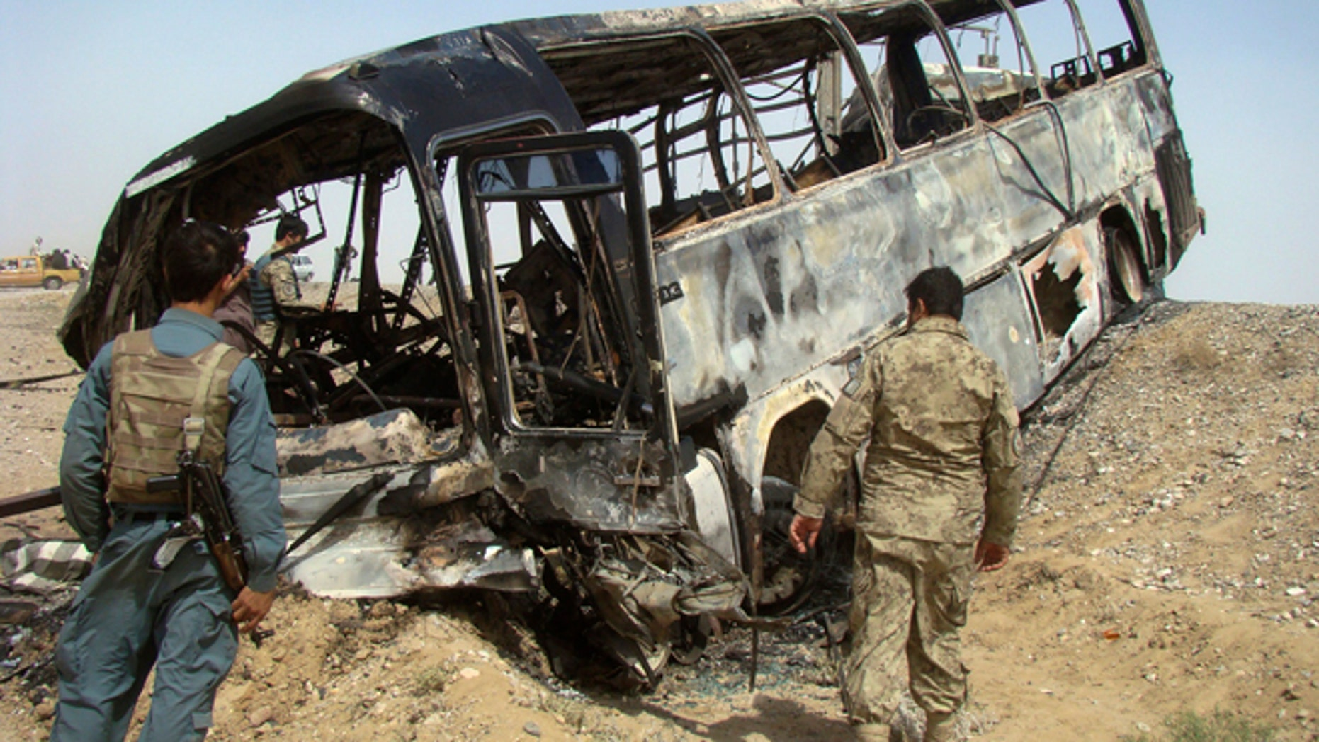 April 26: A bus near Helmand, Afghanistan, was attacked by Taliban insurgents, killing scores of people on the bus in a fiery crash.