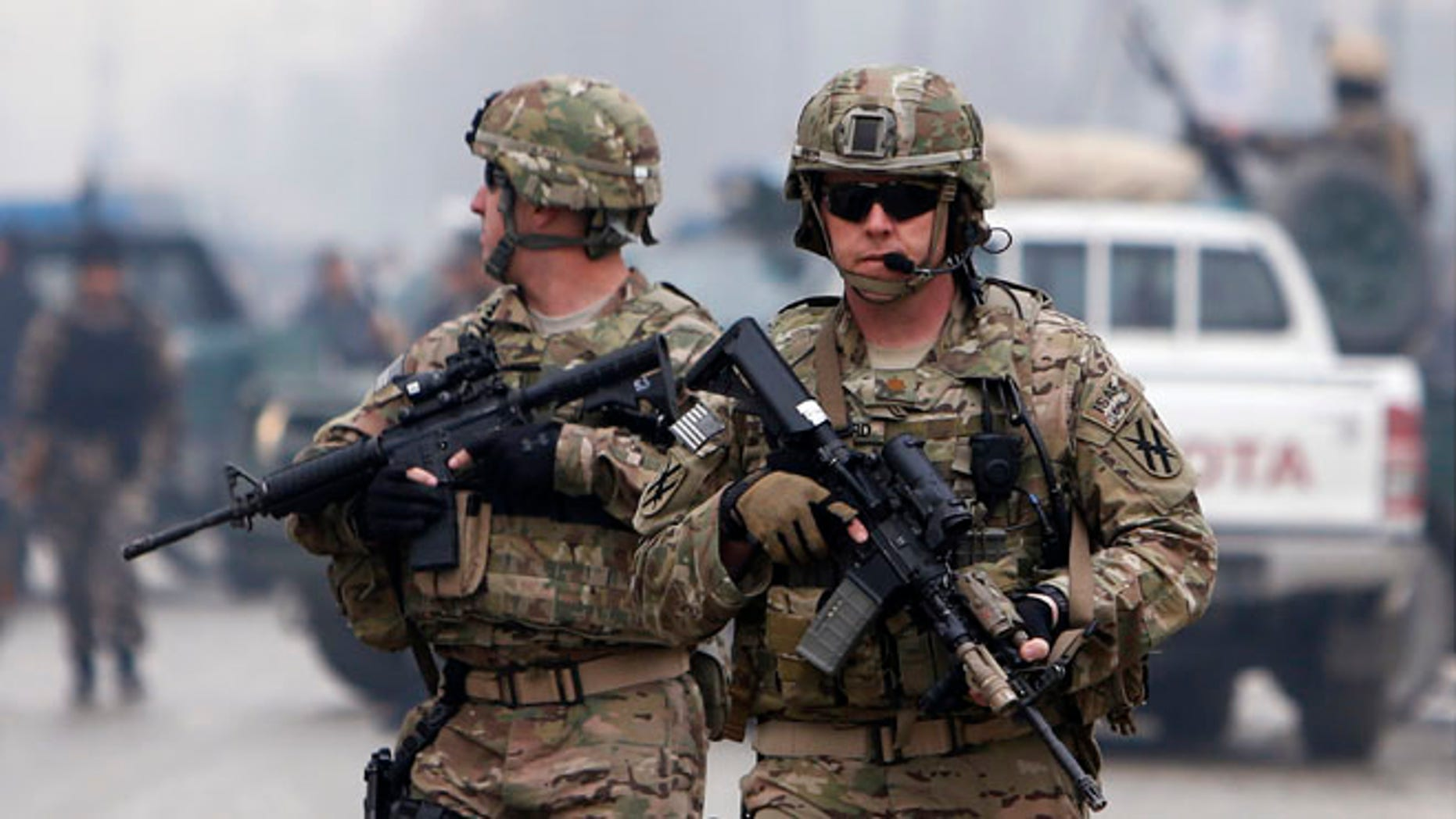 FILE: Feb. 20, 2014: U.S. troops in Kabul, Afghanistan.