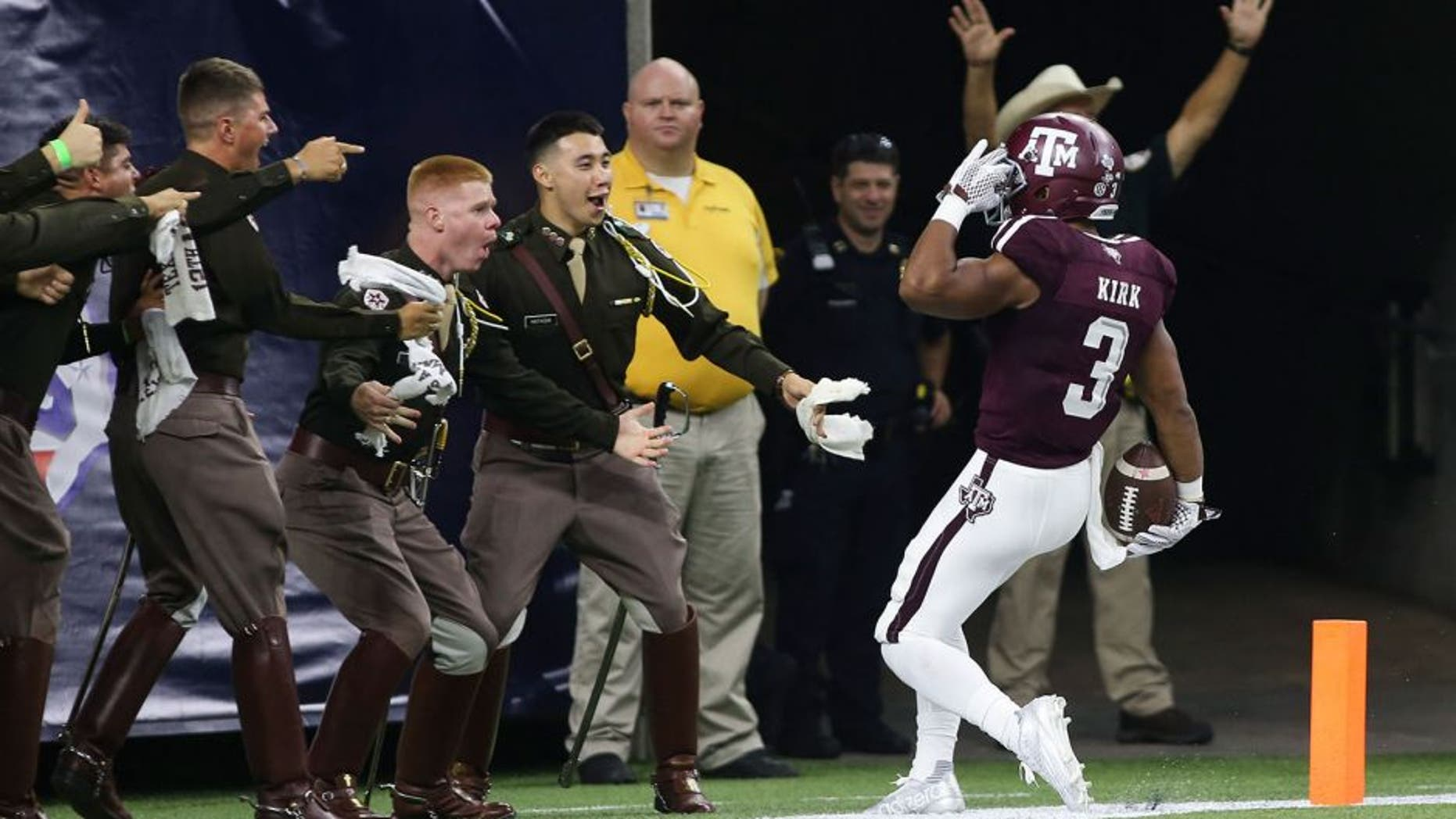 Sep 5, 2015; Houston, TX, USA; Texas A&M Aggies wide receiver Christian Kirk (3) salutes after returning a punt for a touchdown during the second quarter against the Arizona State Sun Devils at NRG Stadium. Mandatory Credit: Troy Taormina-USA TODAY Sports