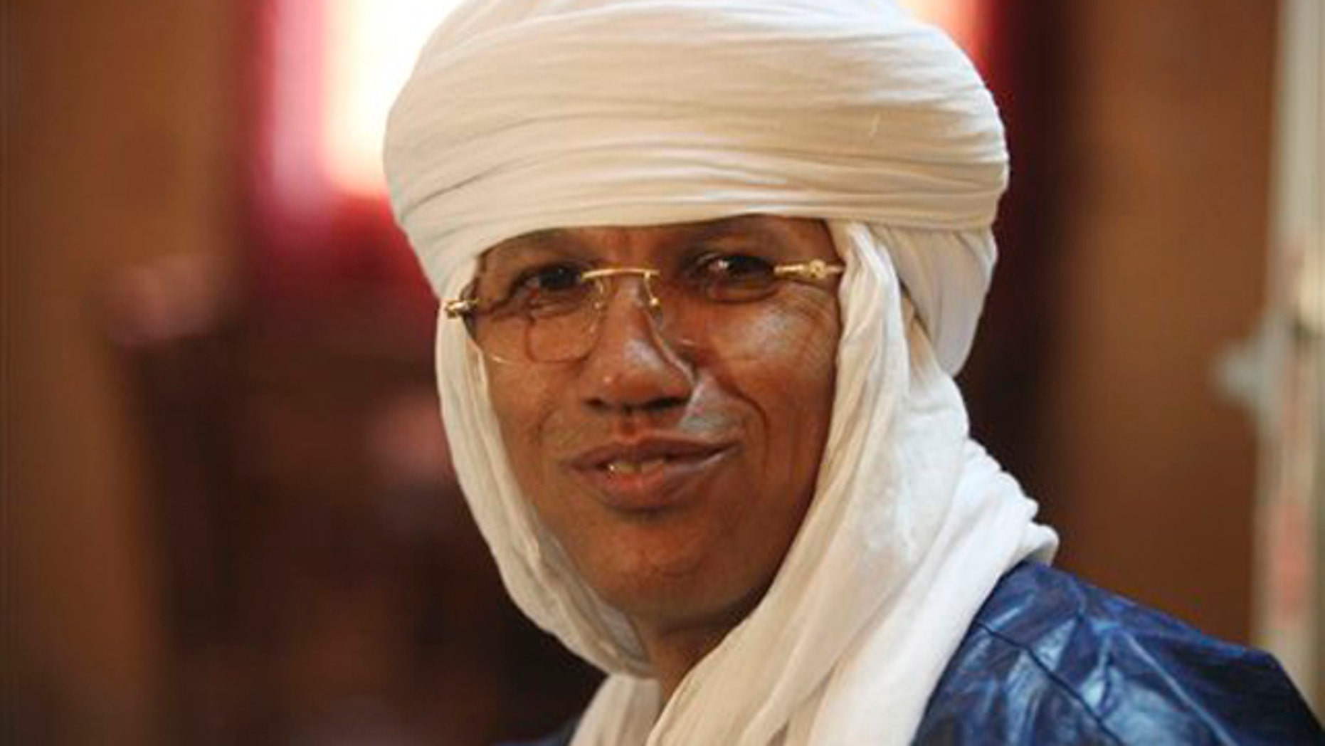 Sept. 13, 2011: Tuareg rebel chief and Gadhafi insider, Aghaly Alambo speaks to Associated Press during an interview in Niamey, Niger.