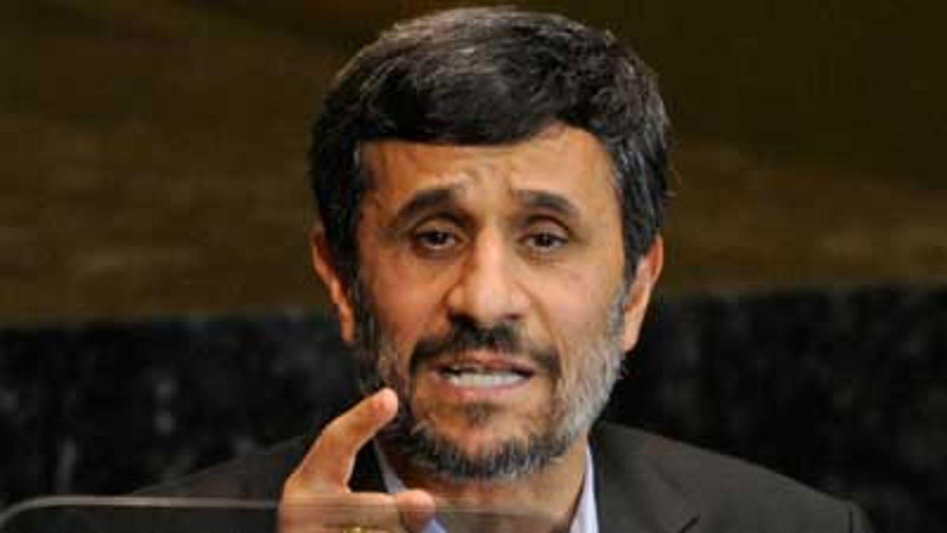 File: Iranian President Mahmoud Ahmadinejad speaks at the United Nations (AP).