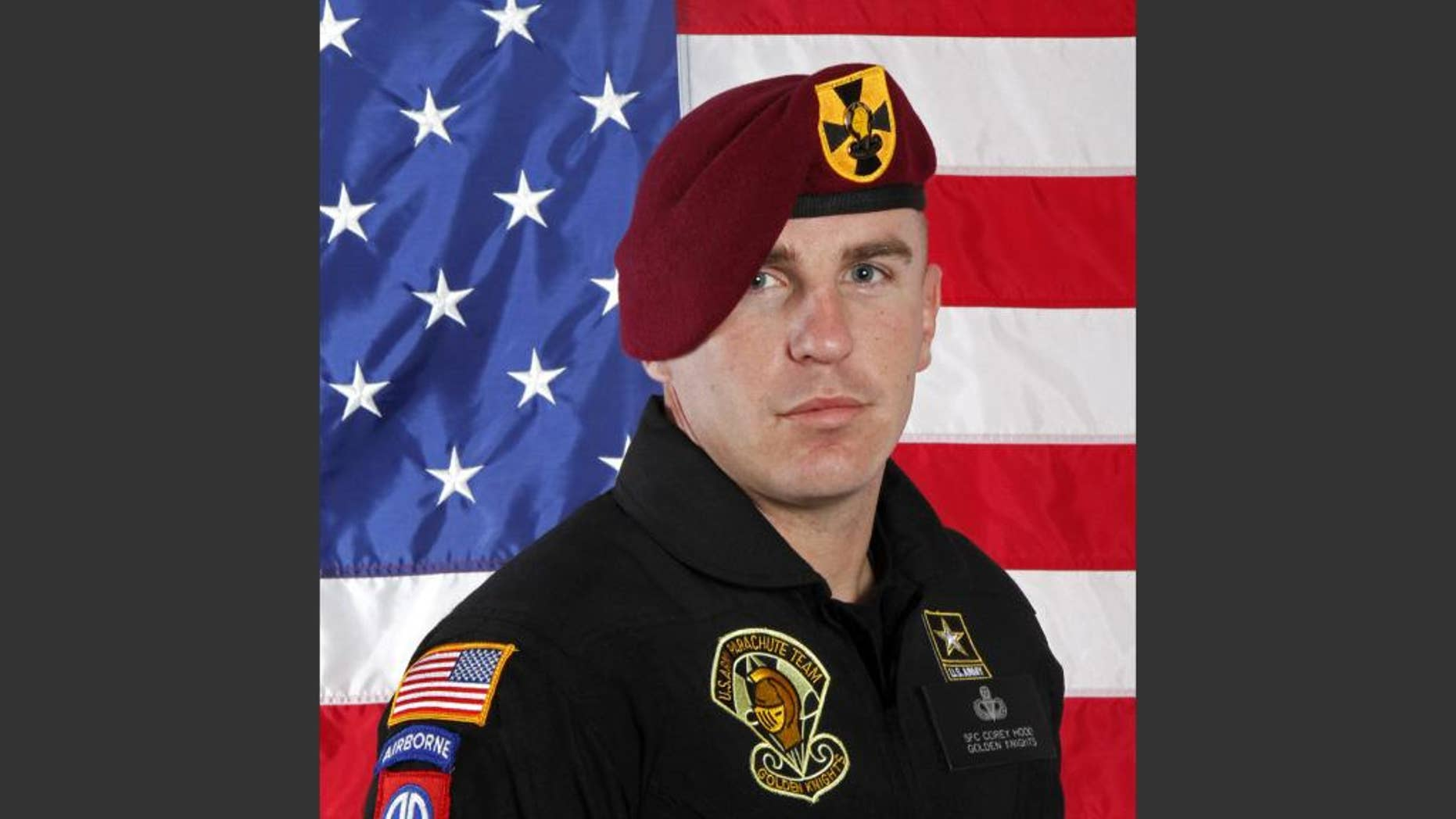 This undated photo provided by the U.S. Army shows Sgt. 1st Class Corey Hood. A parachutist the Army Golden Knights, Hood died Sunday after suffering severe injuries from an accident during a stunt on Saturday at the Chicago Air & Water Show, the Cook County medical examiner's office said. (U.S Army via AP)