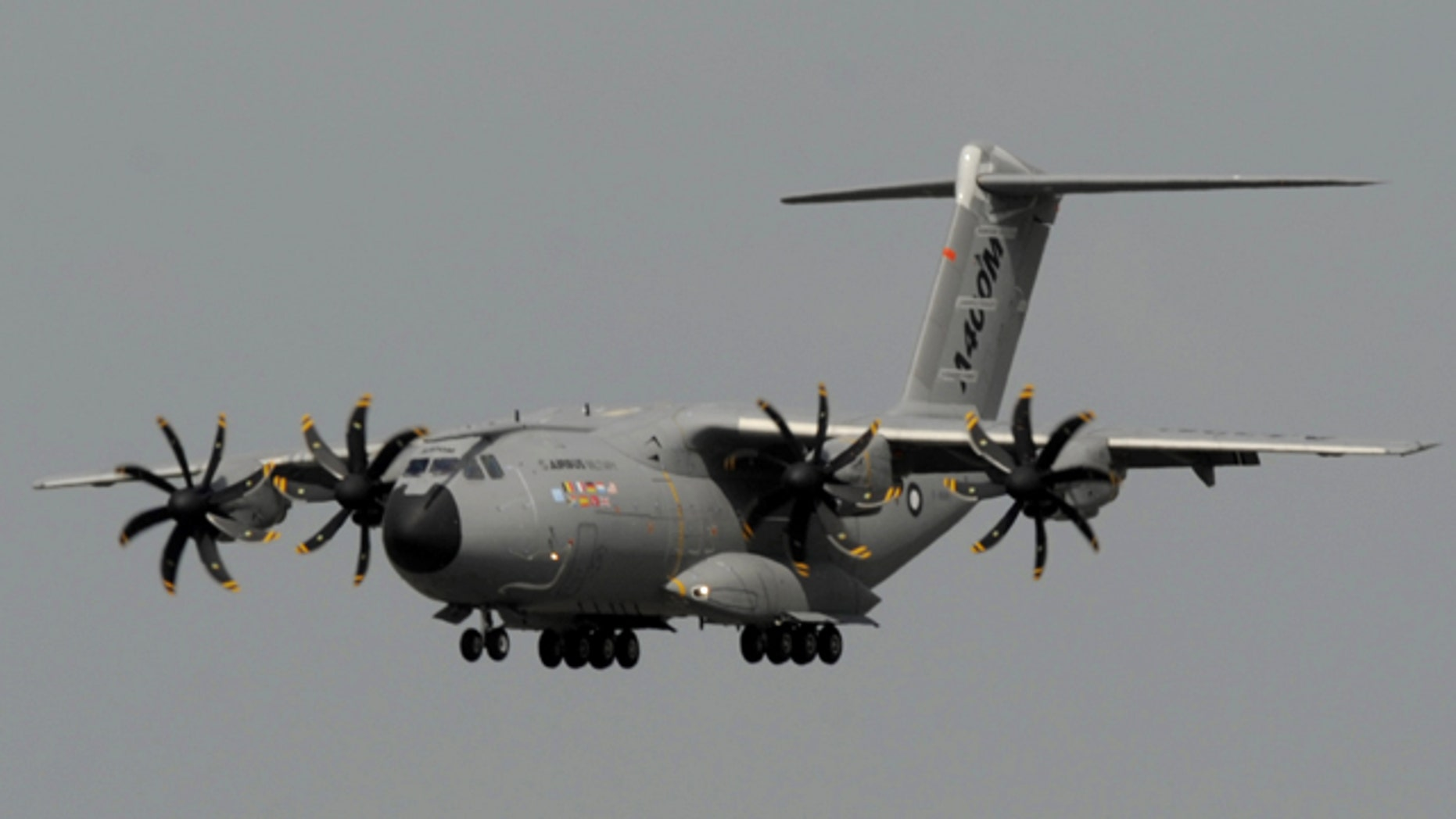 The military transport Airbus A400M lands at the airfield prior to the start of the International Air Show ILA at Schoenefeld airport in Berlin on Monday, June 7, 2010. Visitors will be able to get an exclusive first glimpse of the aircraft, the all-new airlifter for the 21st century and Airbus Military's latest development.