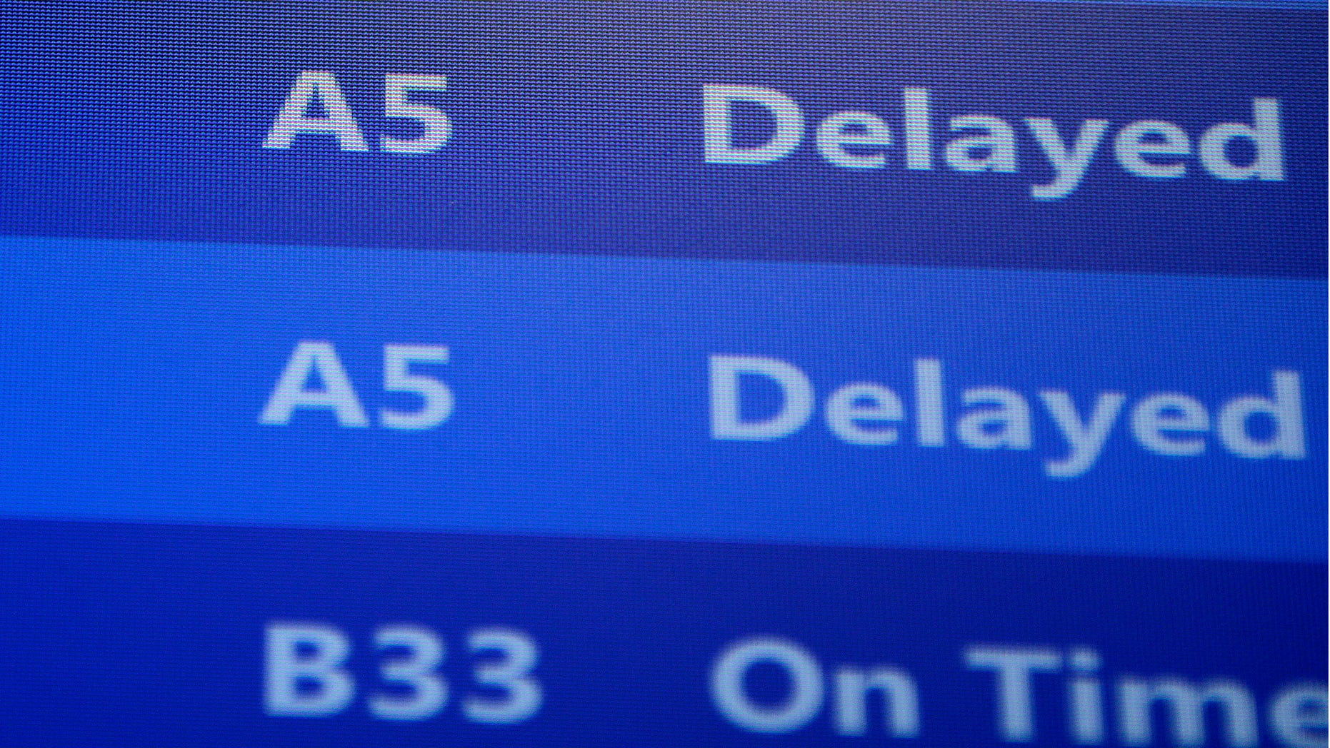 Nov. 26, 2013: Flights departing from Pittsburgh International Airport are delayed in Imperial, Pa.