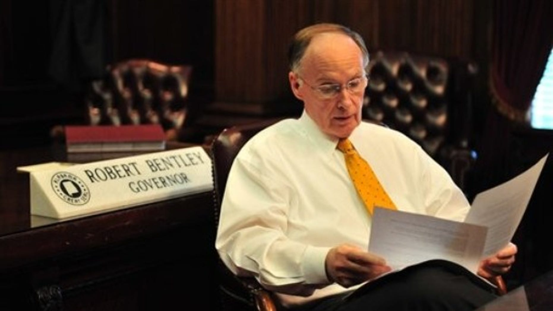 Alabama Gov. Robert Bentley looks over his State of the State speech, Monday, Feb 28, 2011. in Montgomery, Ala. at his office in the historic Alabama State Capitol. (AP)