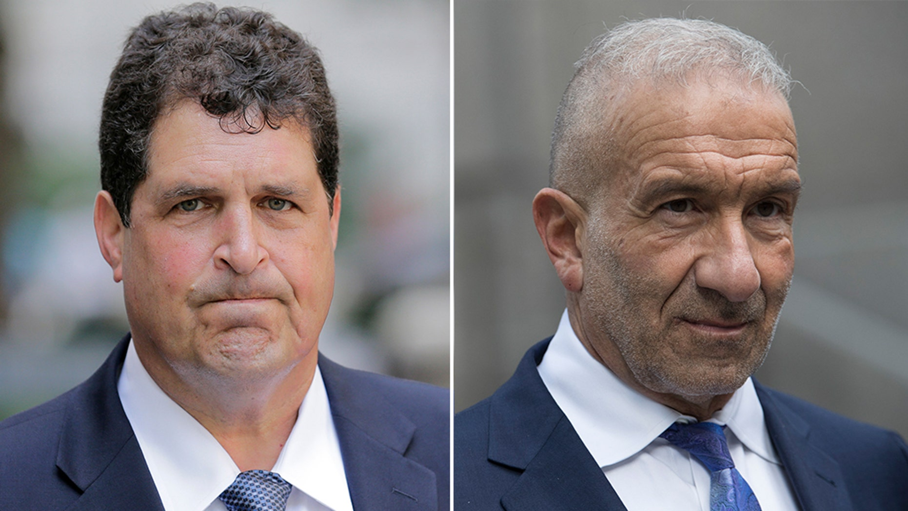 "A federal jury in New York has convicted key players including Steven Aiello, left, of corruption in Gov. Andrew Cuomo's ""Buffalo Billion"" economic redevelopment program. Alain Kaloyeros, a former president of the State University of New York's Polytechnic Institute, right, has been charged with bid-rigging in the revitalization program.   (AP Photo/Seth Wenig / Mary Altaffer)"
