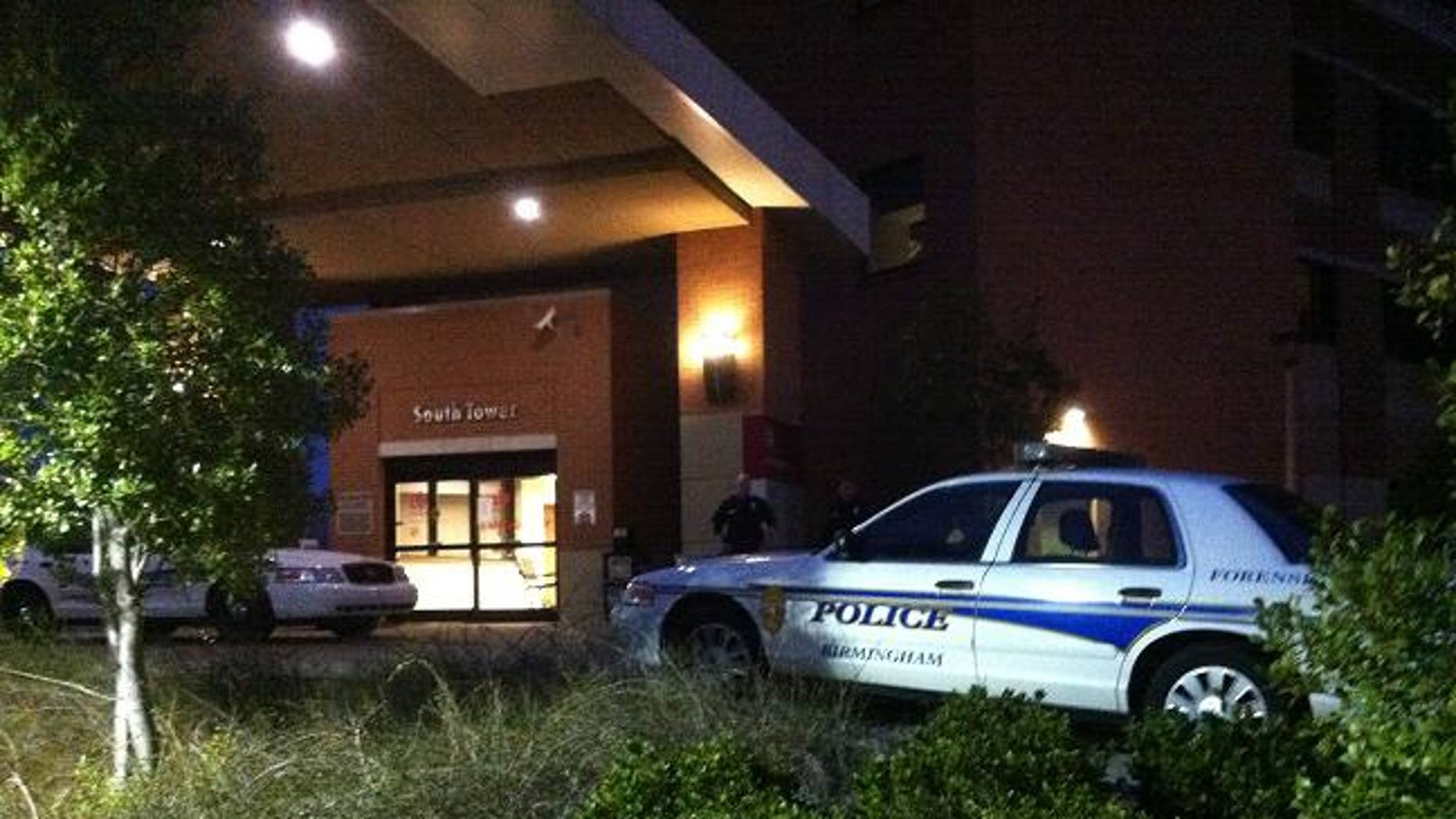 This photo shows the crime scene outside the Alabama hospital where a gunman wounded 3.