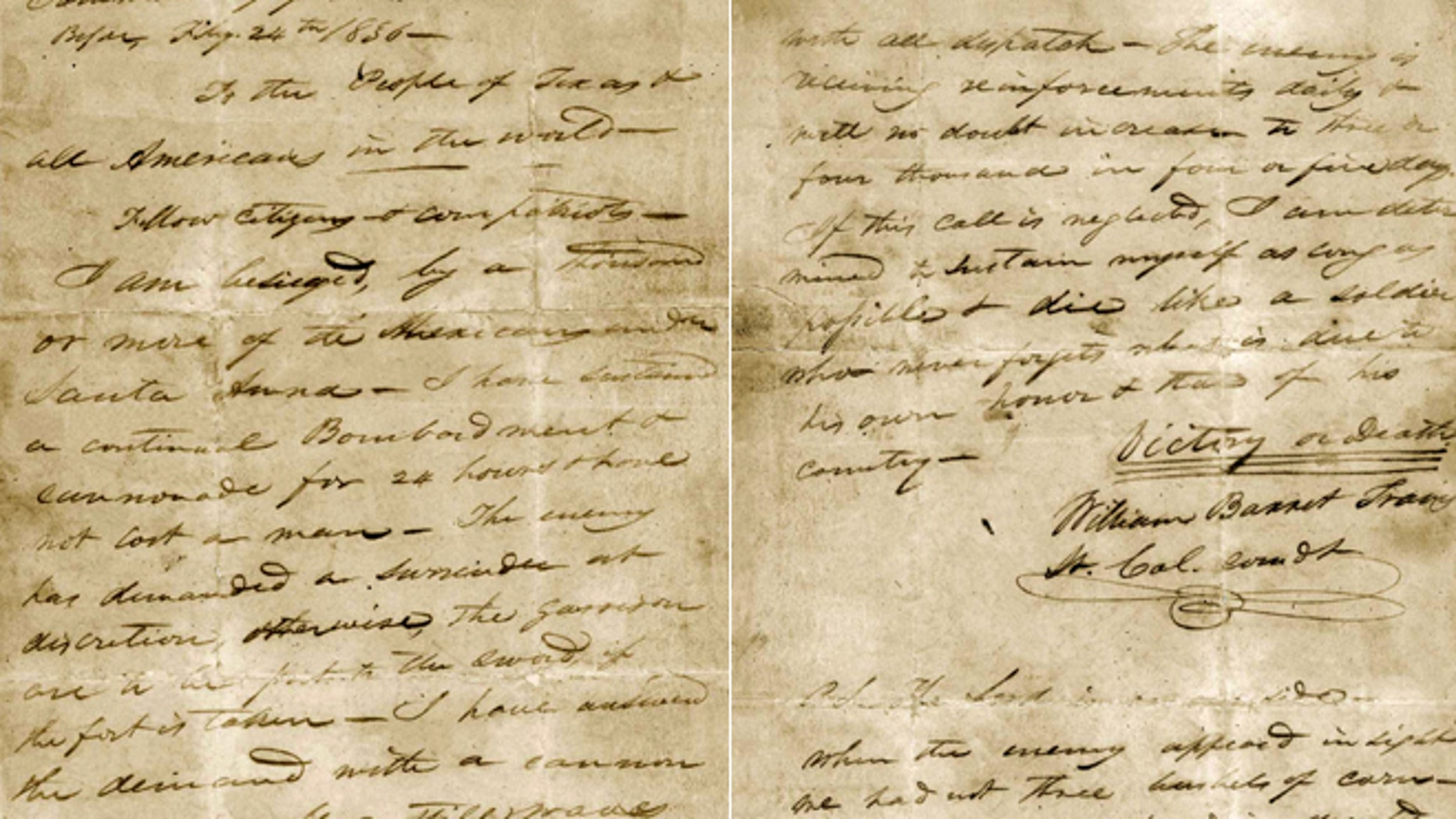 """This undated image provided by the Texas State Library and Archives Commission shows a portion of the """"victory or death"""" letter written by William Barret Travis from the Alamo on Feb. 24, 1836."""