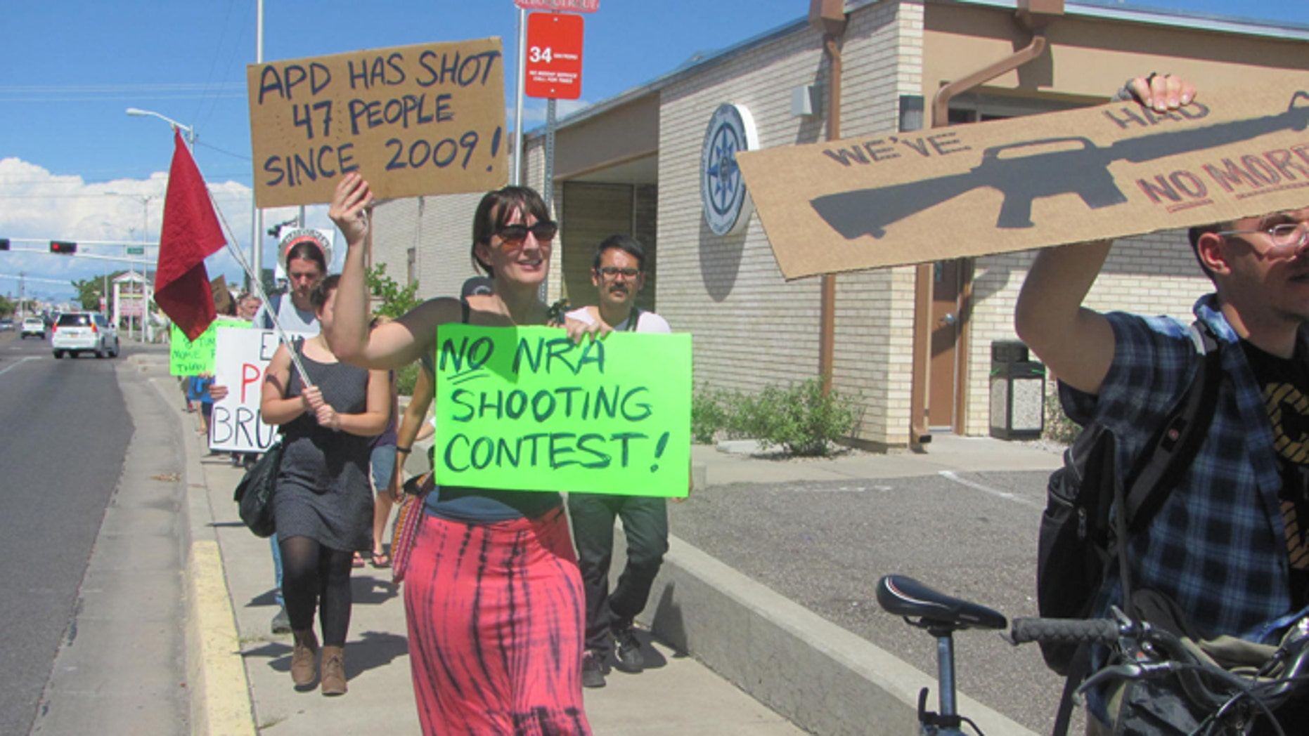 Demonstrators say the Albuquerque Police Department's shooting contest sends the wrong message. (FoxNews.com)