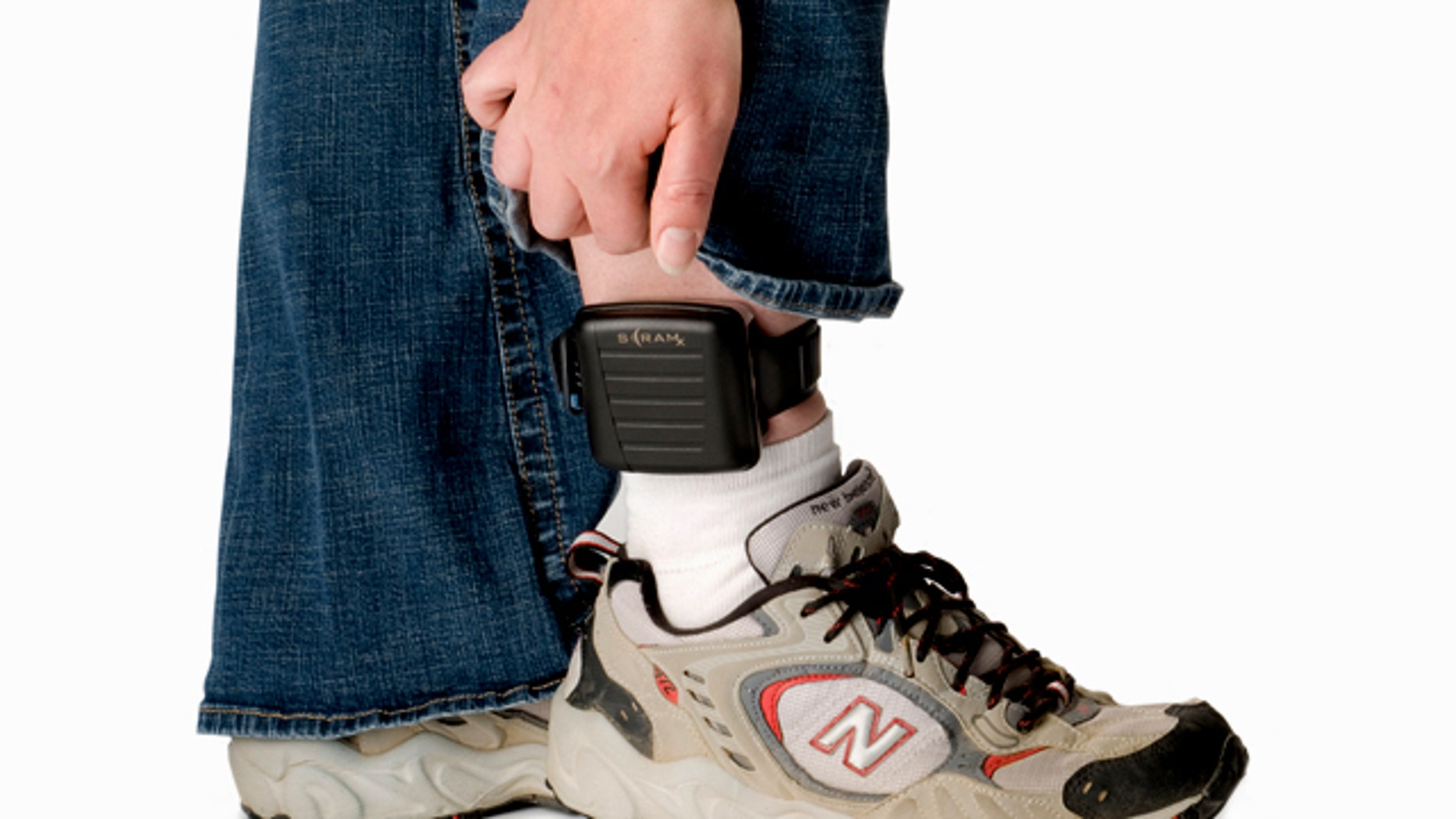 This product image provided by AMS, shows the SCRAMx alcohol-monitoring ankle bracelet.
