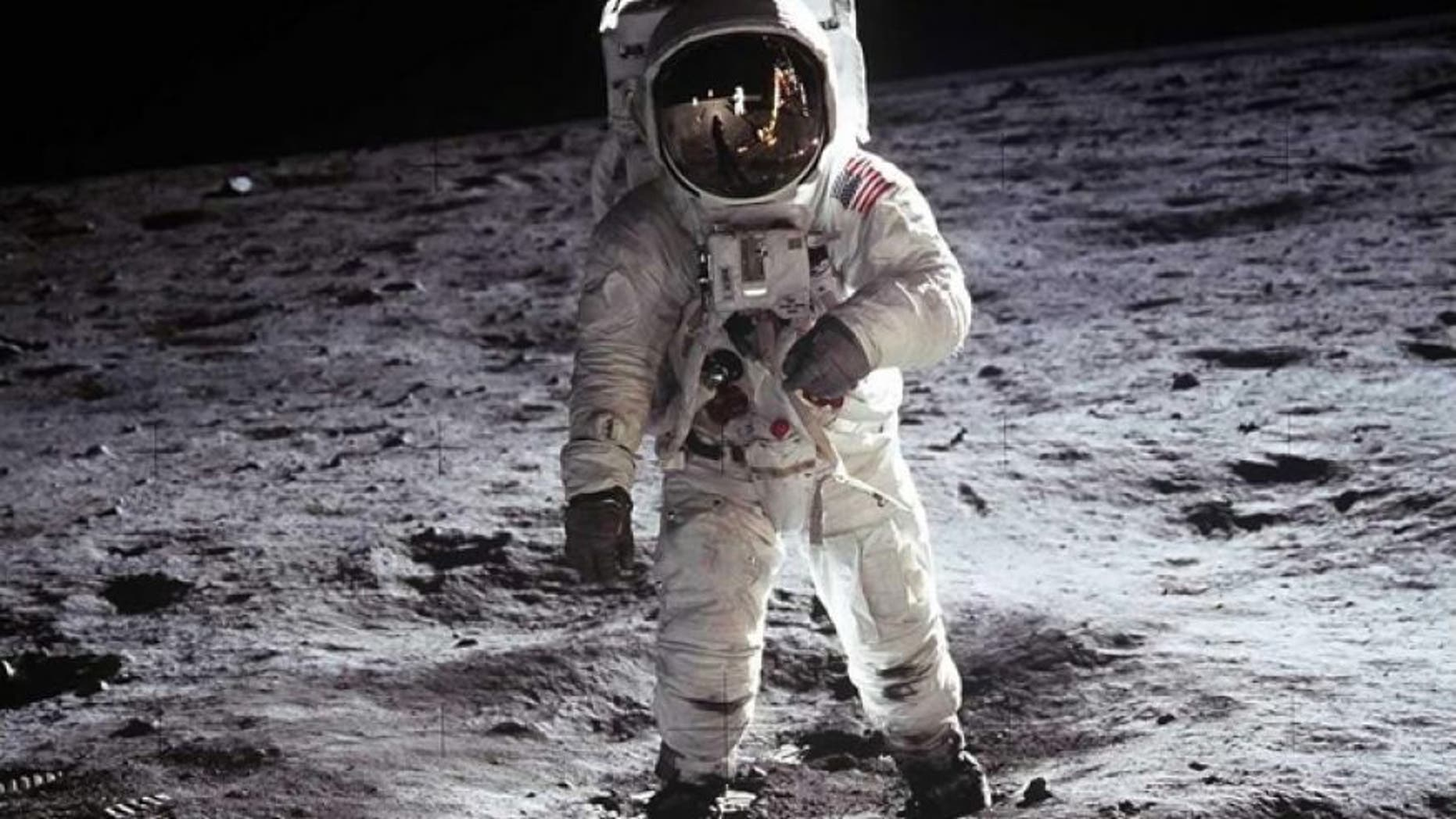 "Buzz Aldrin, Apollo 11, 1969: Astronaut Buzz Aldrin, lunar module pilot, walks on the surface of the Moon near the leg of the Lunar Module ""Eagle"" during the Apollo 11 extravehicular activity (EVA). Astronaut Neil A. Armstrong, commander, took this photograph with a 70mm lunar surface camera."