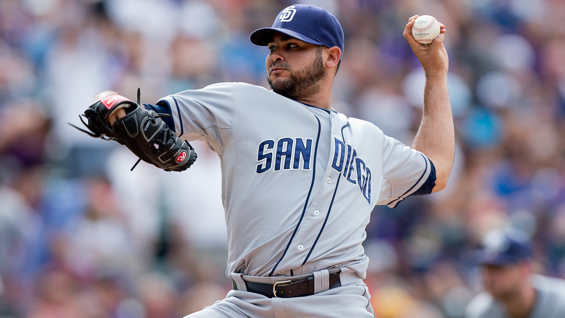 DENVER, CO - MAY 18:  Relief pitcher Alex Torres #54 of the San Diego Padres delivers to home plate during the seventh inning against the Colorado Rockies at Coors Field on May 18, 2014 in Denver, Colorado. The Rockies defeated the Padres 8-6 in 10 innings. (Photo by Justin Edmonds/Getty Images)