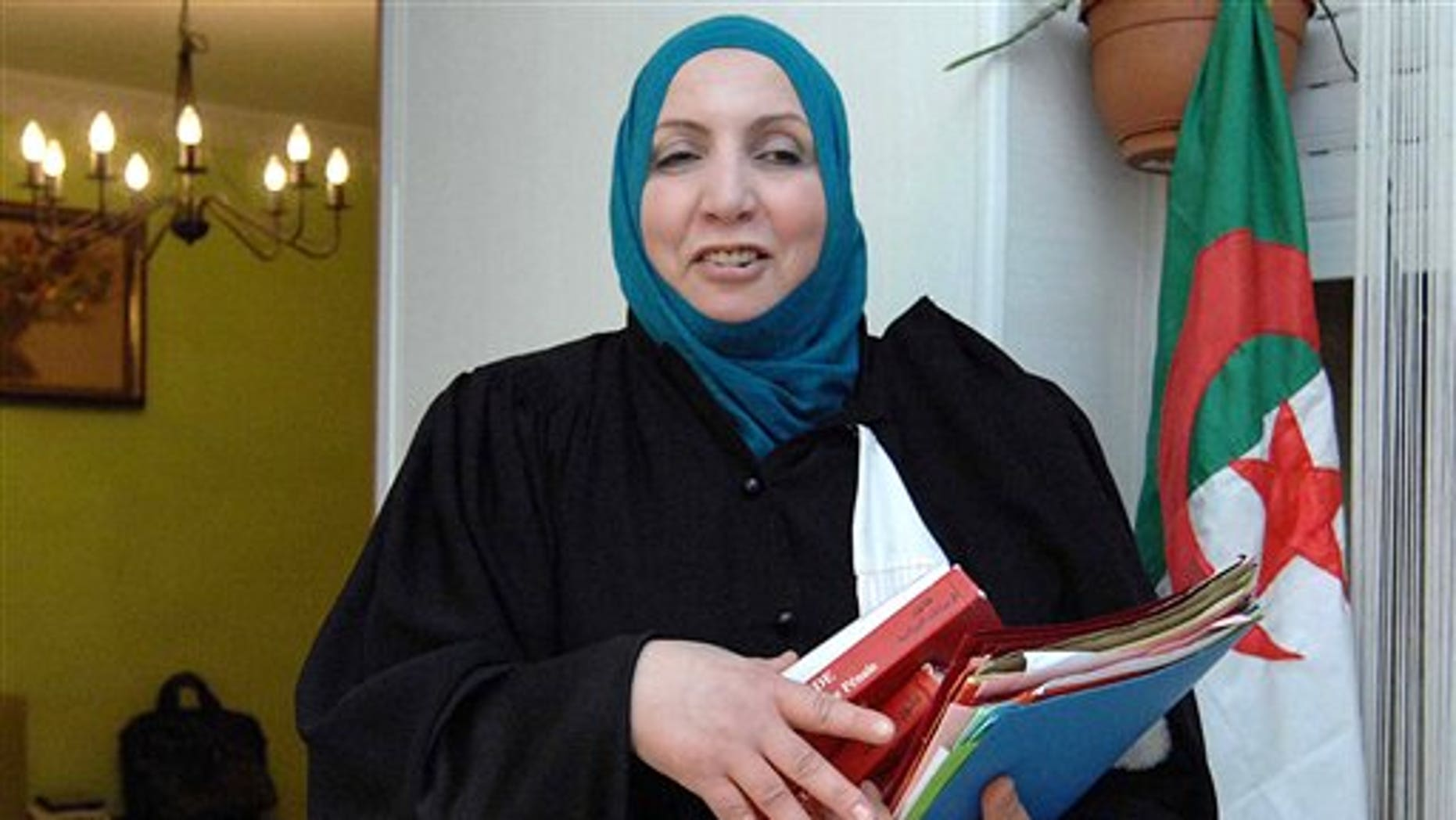 March 29, 2012: Zahia Mokhtari, lawyer for  Mohamed Benallal Merah, the father of Mohamed Merah, in Algiers.