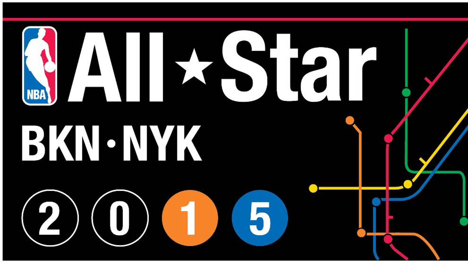 This graphic released by the NBA on Thursday, July 10, 2015, shows the logo for the 2015 NBA All Star basketball game in New York. (AP Photo/NBA)