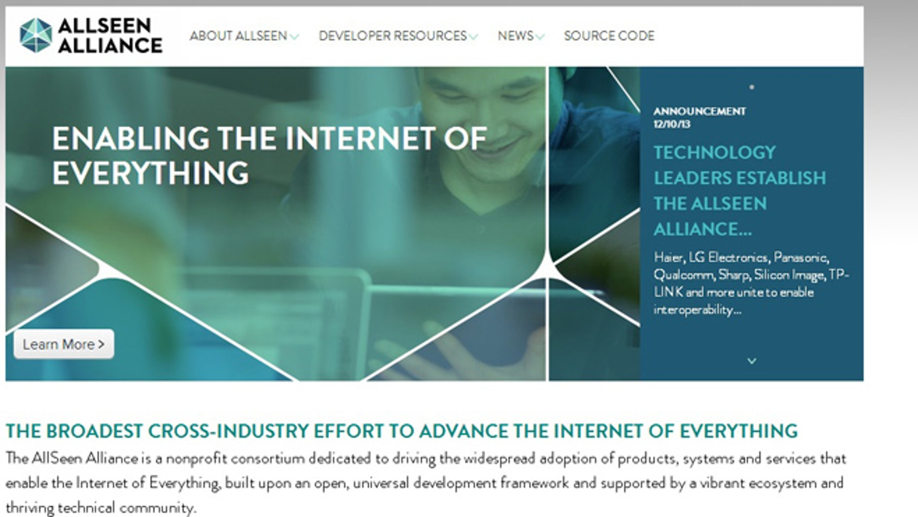 """A screenshot of the website for the AllSeen Alliance, a new initiative to make connected, """"smart home"""" appliances smarter."""