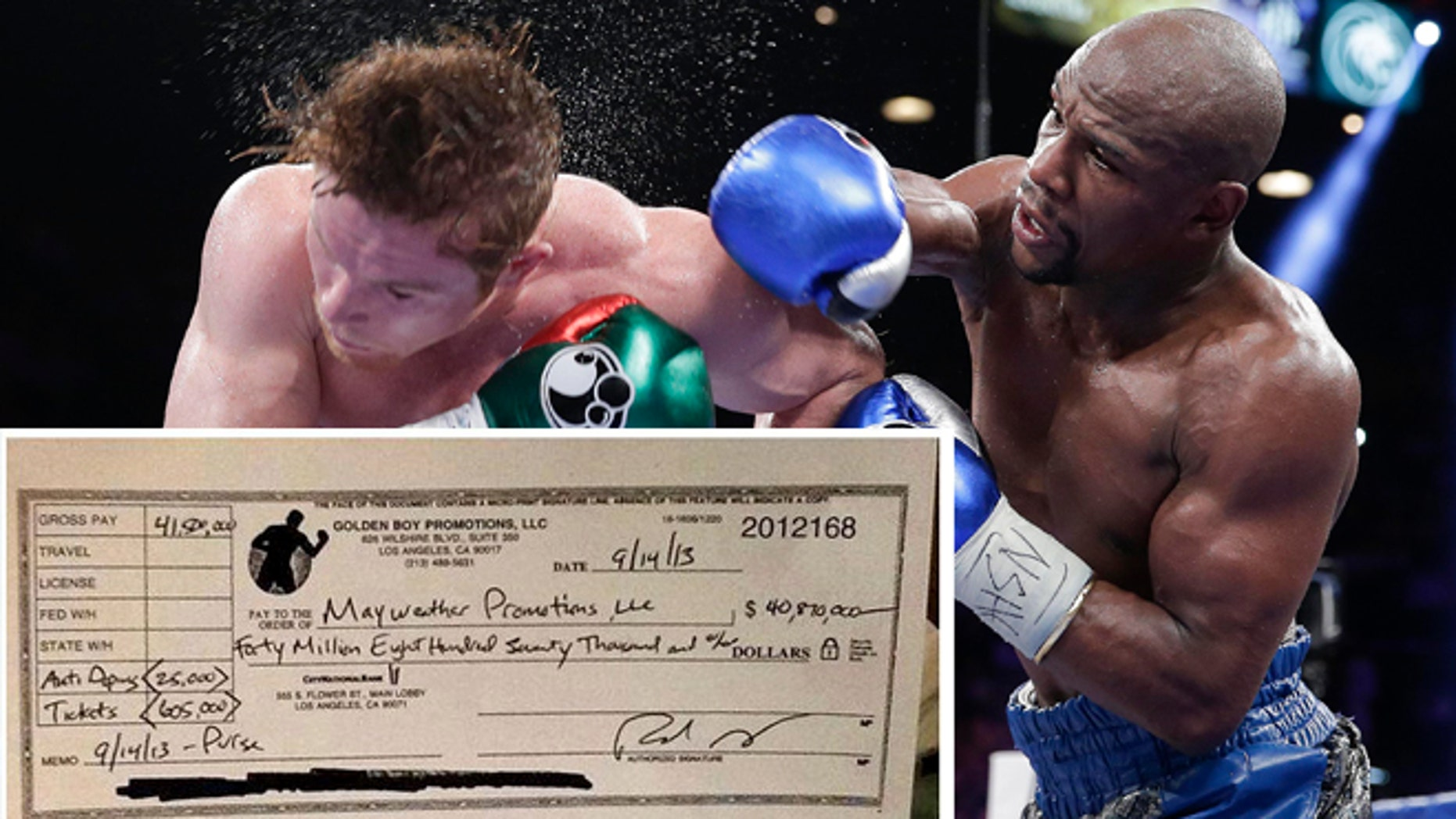 Floyd Mayweather Jr. and Canelo Alvarez during their fight on September 14, 2013.