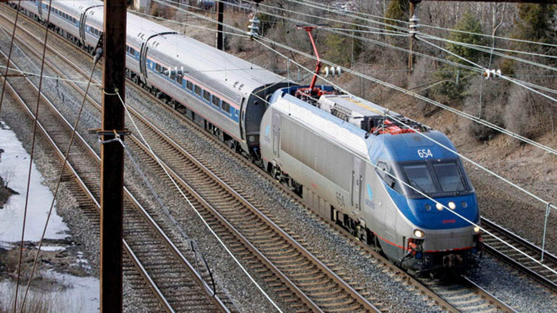 In this Jan. 5, 2010, file photo, a northbound Amtrak Acela passes through Middle River, Md.