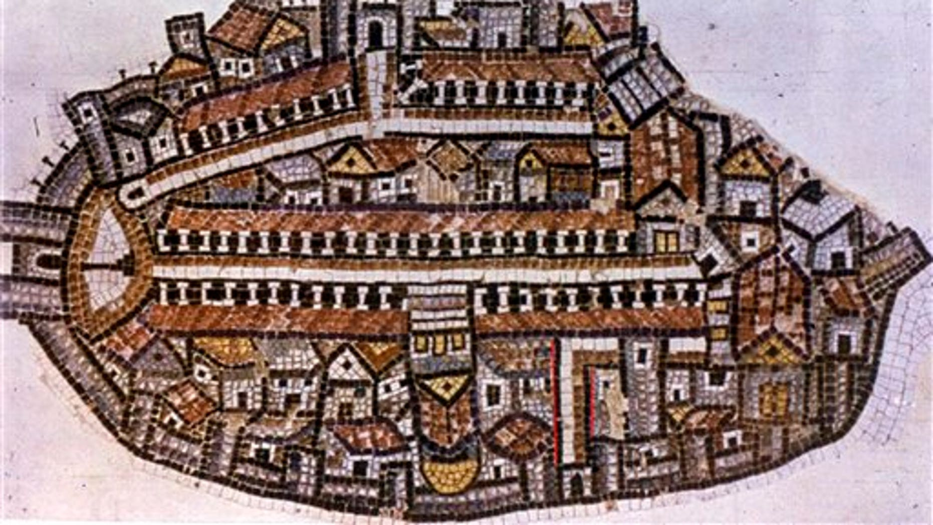 The Madaba map that was found in a Jordanian church is seen, with red marks placed in the area representing a recently excavated Byzantine street in Jerusalem's Old City.