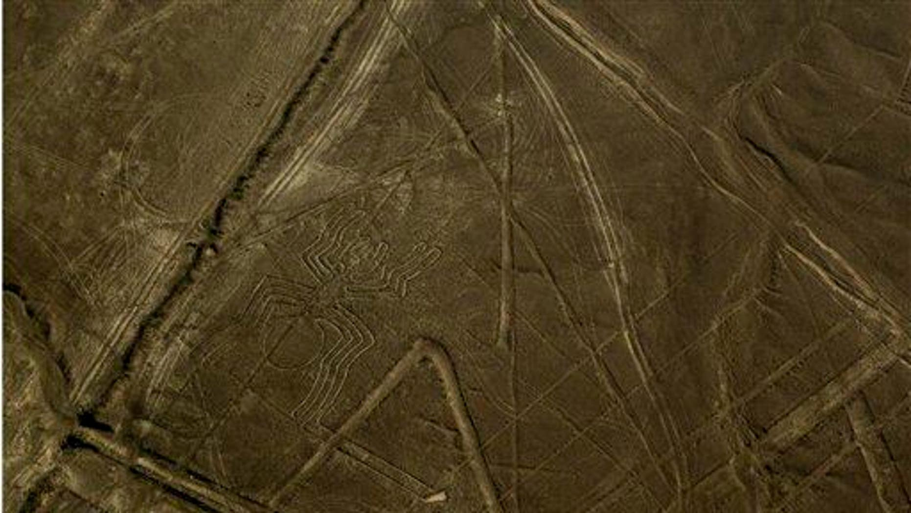 """A figure known as """"the spider"""" is seen center left in the zone known as the Nazca lines in Peru's coastal Nazca Desert."""