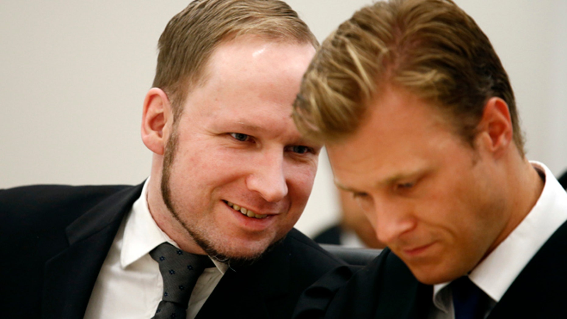 Anders Breivik talks with a lawyer last summer. CBS News reports that sources say the Newtown gunman wanted to kill more people than Breivik.