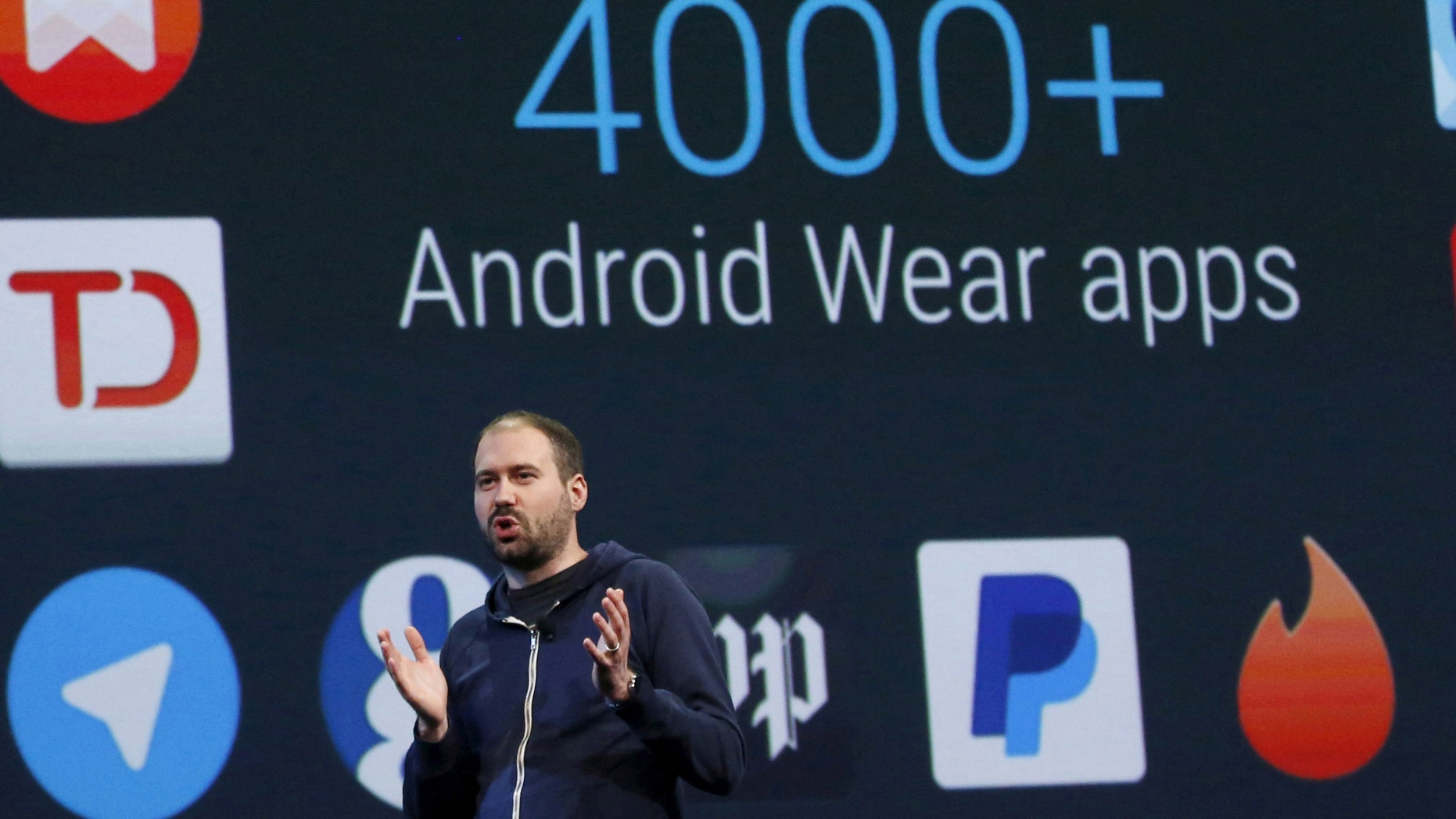David Singleton, Director of Android Wear, speaks during the Google I/O developers conference in San Francisco, California May 28, 2015. REUTERS/Robert Galbraith - RTX1EZMC