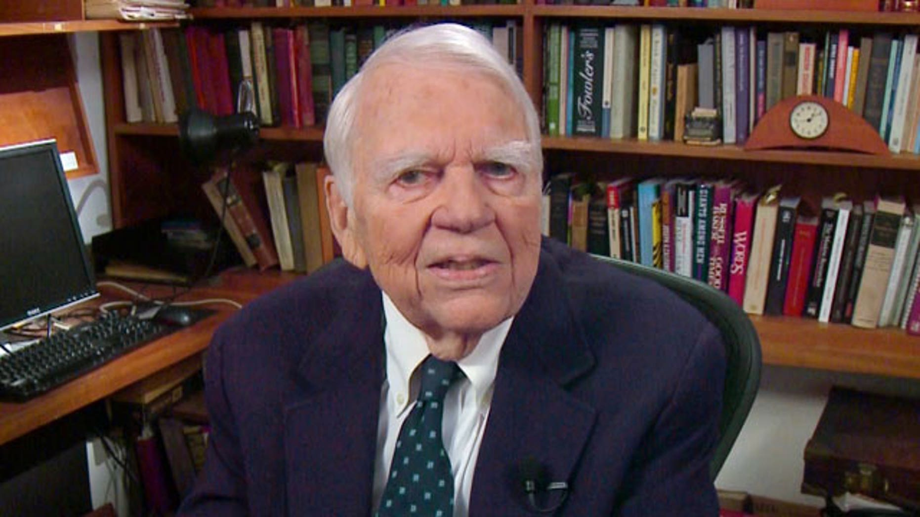 """In this Aug. 23, 2011 image taken from video and provided by CBS, Andy Rooney tapes his last regular appearance on """"60 Minutes"""" in New York."""
