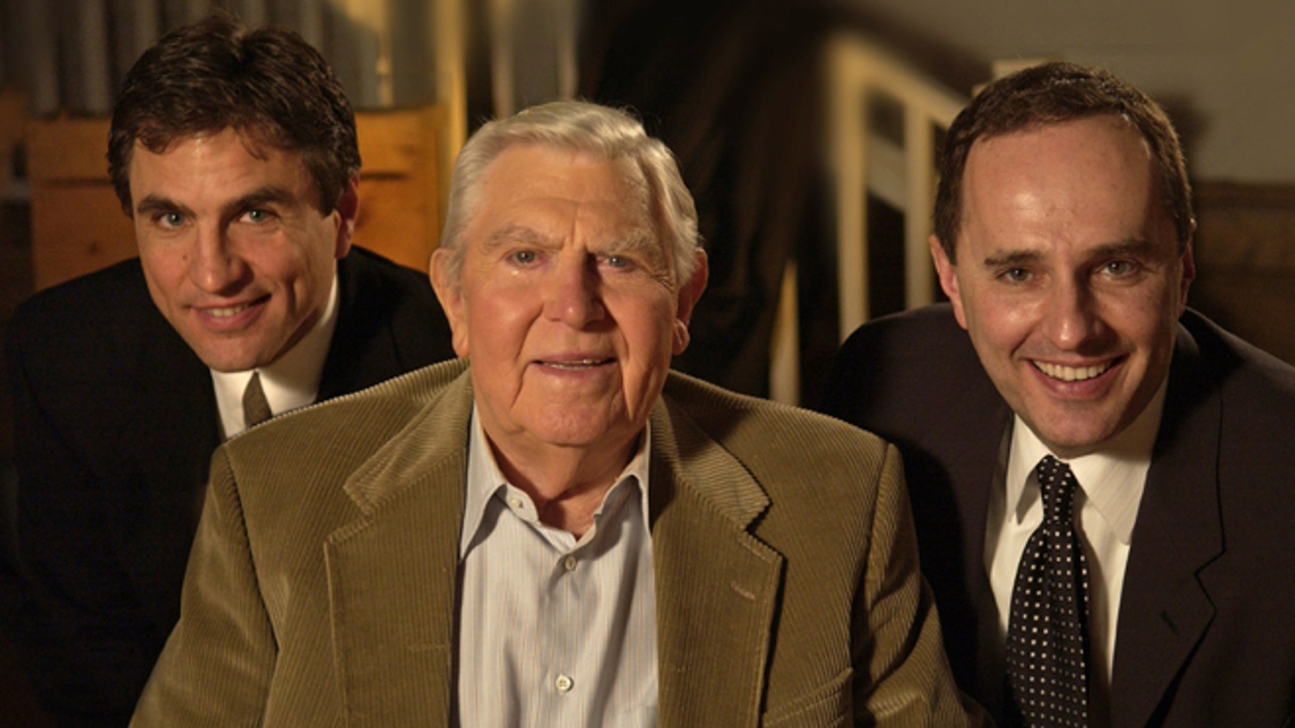 """From left to right: Mike Trinklein, Andy Griffith and Steve Boettcher at a taping for PBS' """"Pioneers of Television,"""" a documentary series that offers inside stories from some of America's most beloved television stars. Trinklein and Boettcher, the series producers, were interviewing Griffith for the Sitcoms episode, which aired in 2008."""