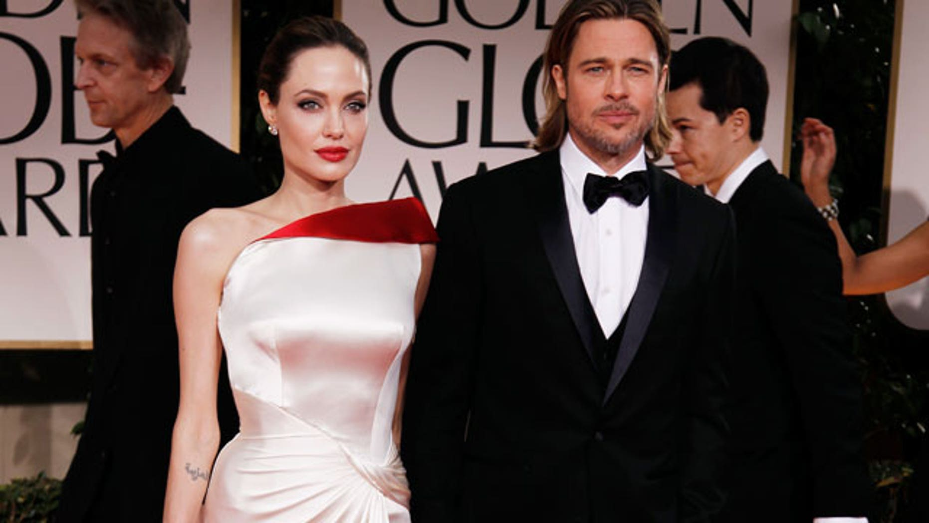 Angelina Jolie and Brad Pitt at the 2012 Golden Globes (AP)