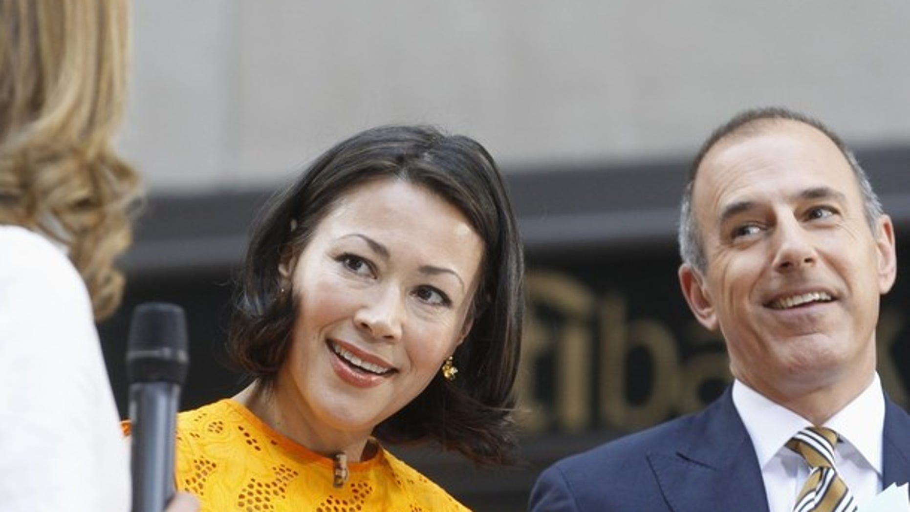 """""""Today"""" show hosts Ann Curry and Matt Lauer appear on set during the show in New York June 22, 2012. NBC executives are in talks with Curry about moving her to one of the network's news programs, only a year after she succeeded Meredith Viera at the morning show.  REUTERS/Brendan McDermid (UNITED STATES - Tags: ENTERTAINMENT PROFILE)"""