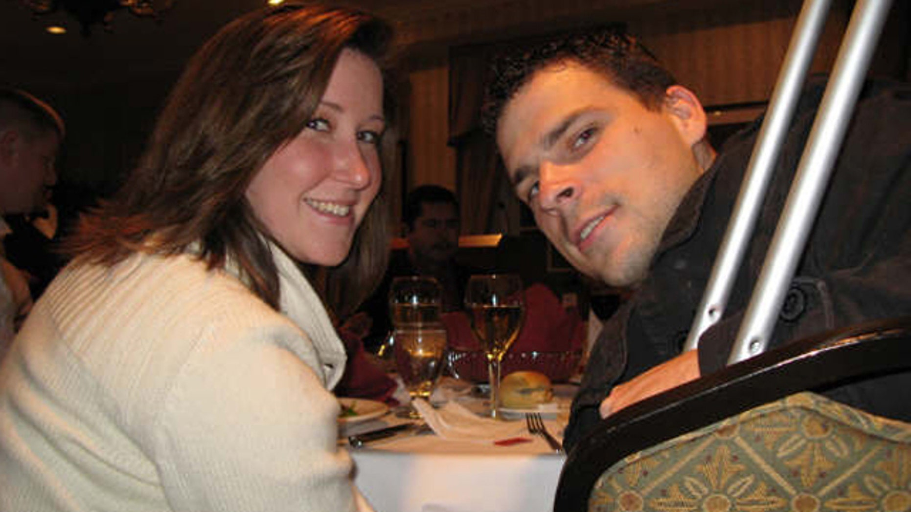 Nov. 14, 2008: Army Staff Sgt. Anthony Maschek, poses with his wife, Angela, at a wounded warrior dinner held at the Capitol Hill Club.